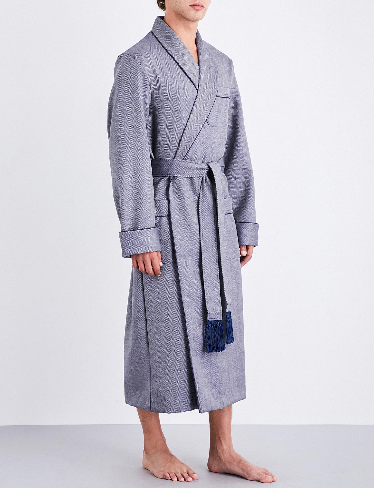 78f611867f Lyst - Derek Rose Lincoln Herringbone Wool Dressing Gown in Blue for Men