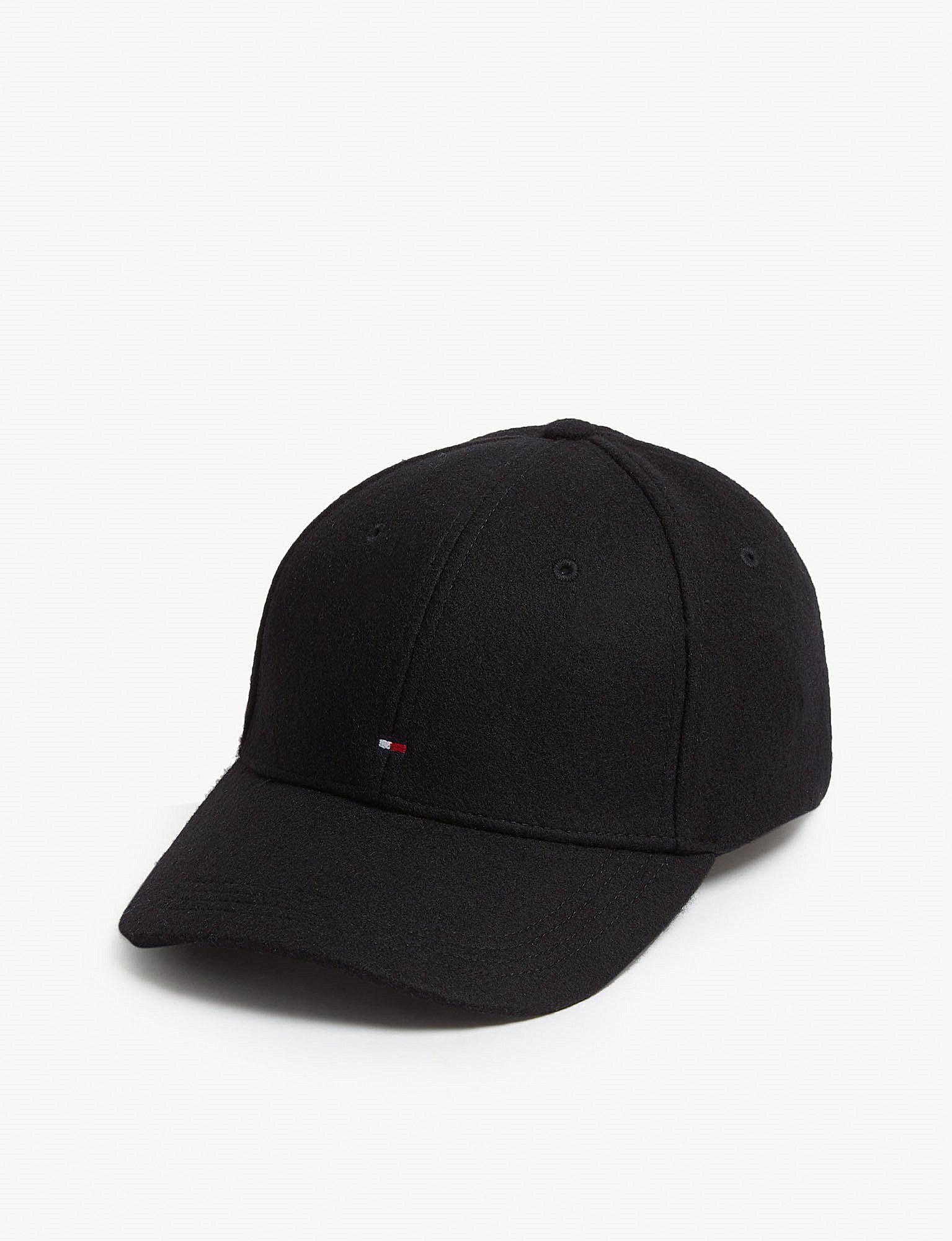 Lyst - Tommy Hilfiger Melton Wool Baseball Cap in Black for Men 25db6df3a9ae