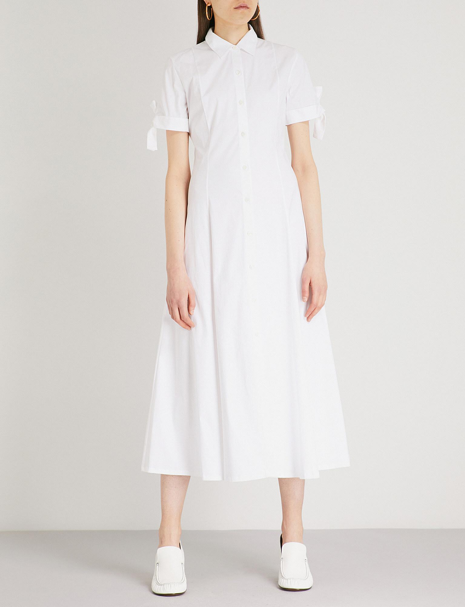 f560463faa4 Theory Tie-sleeve Cotton-blend Shirt Dress in White - Lyst
