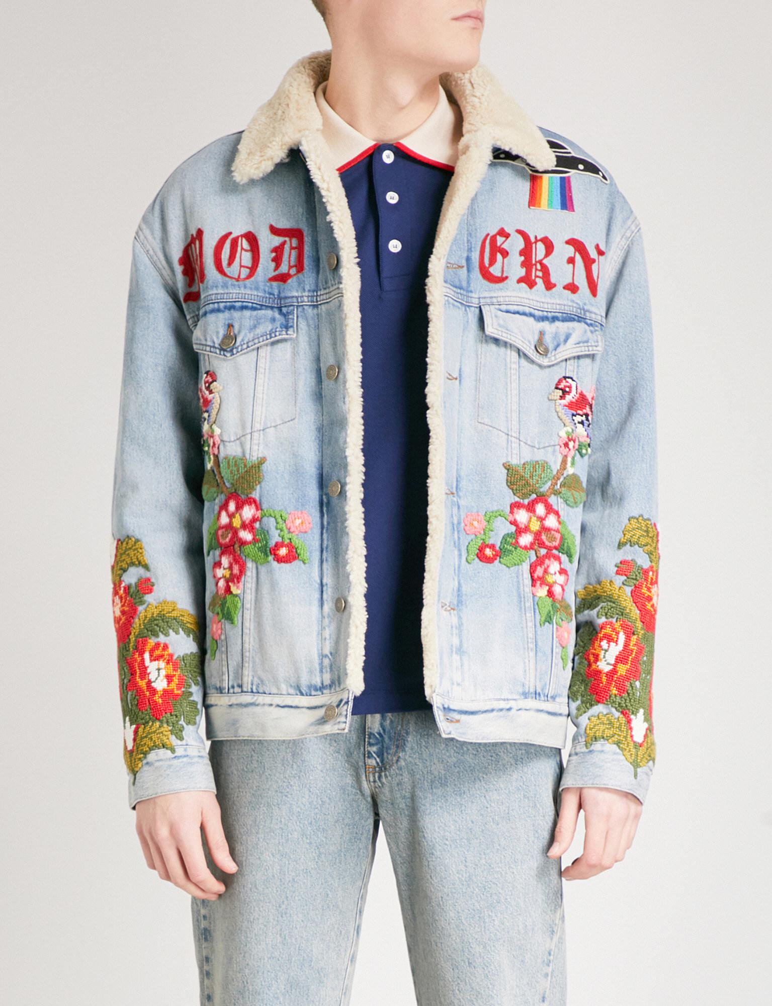 bade72bd8c7ff Lyst - Gucci Embroidered Denim Jacket in Blue for Men
