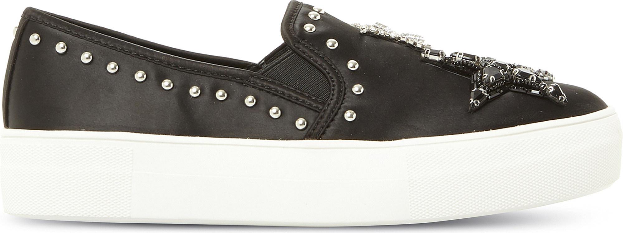 aaf0bc59320 Lyst - Steve Madden Star Embellished Satin Skate Shoes in Black