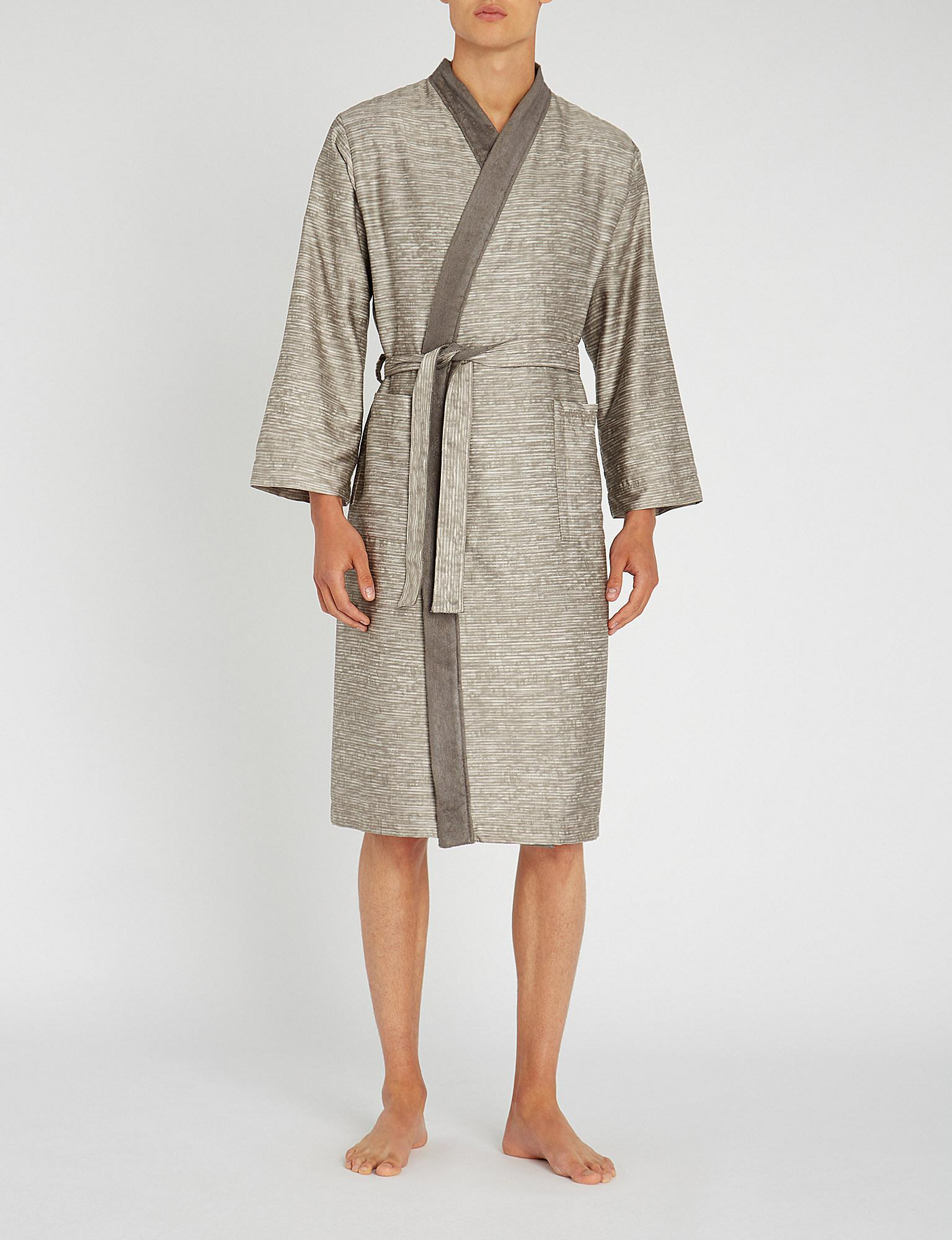 Lyst - Calvin Klein Acacia Striped Cotton Dressing Gown in Gray for Men