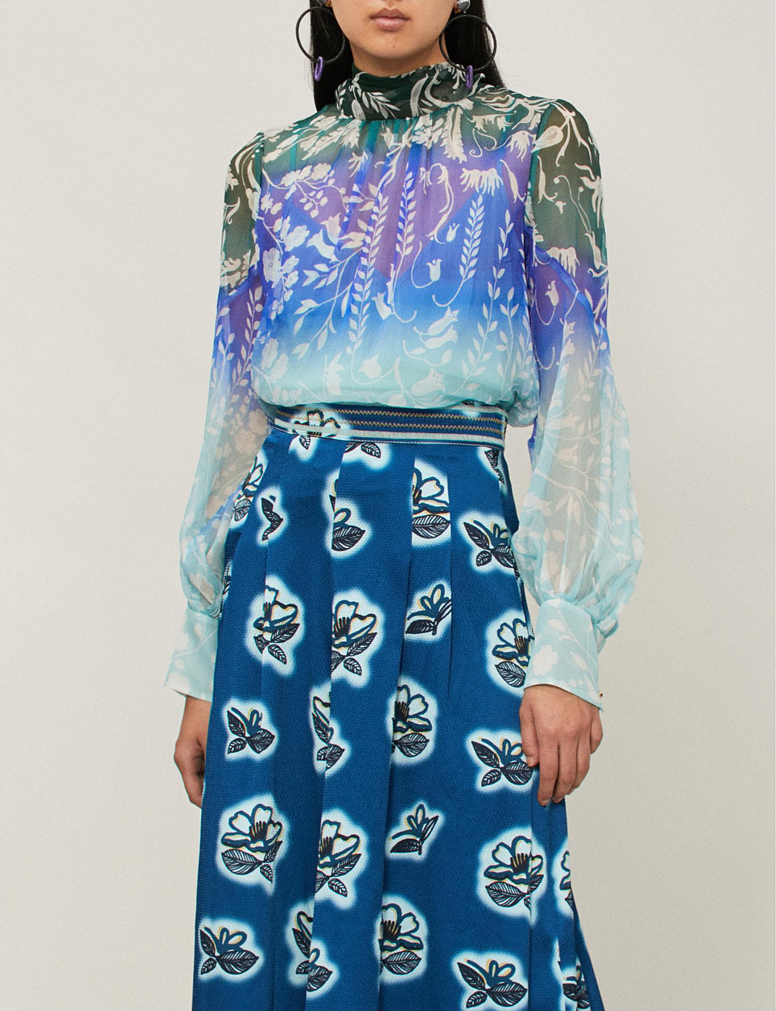 a6371219184fc8 Peter Pilotto Floral-print High-neck Silk-crepe Top in Blue - Lyst