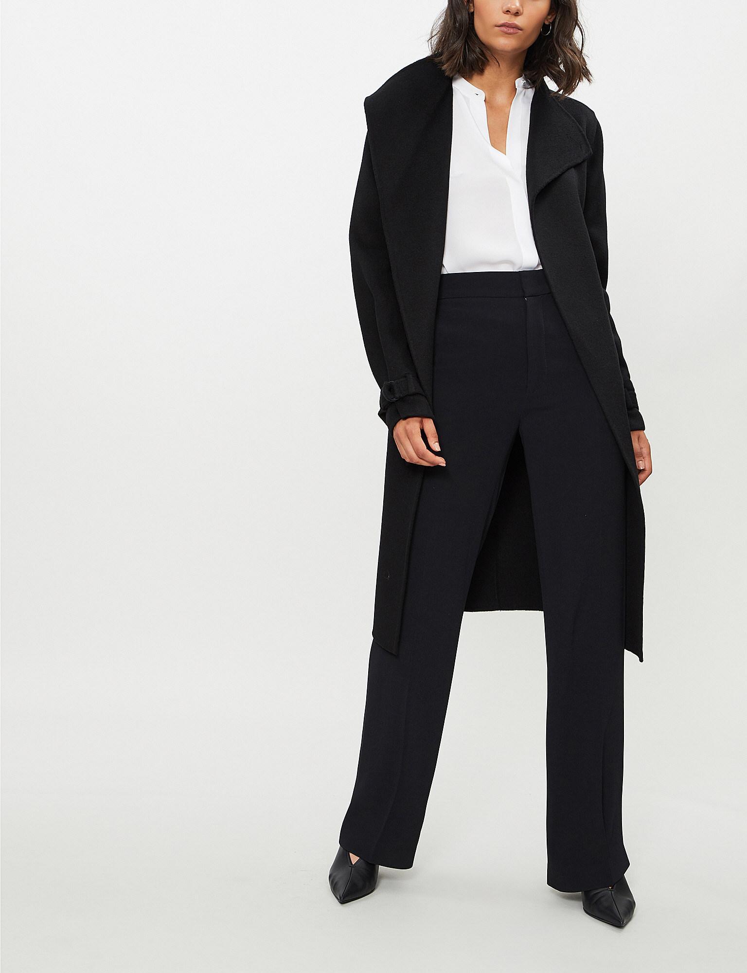 5e9f69cbf01 Lyst - JOSEPH Womens Black New Lima Wool And Cashmere-blend Coat in ...