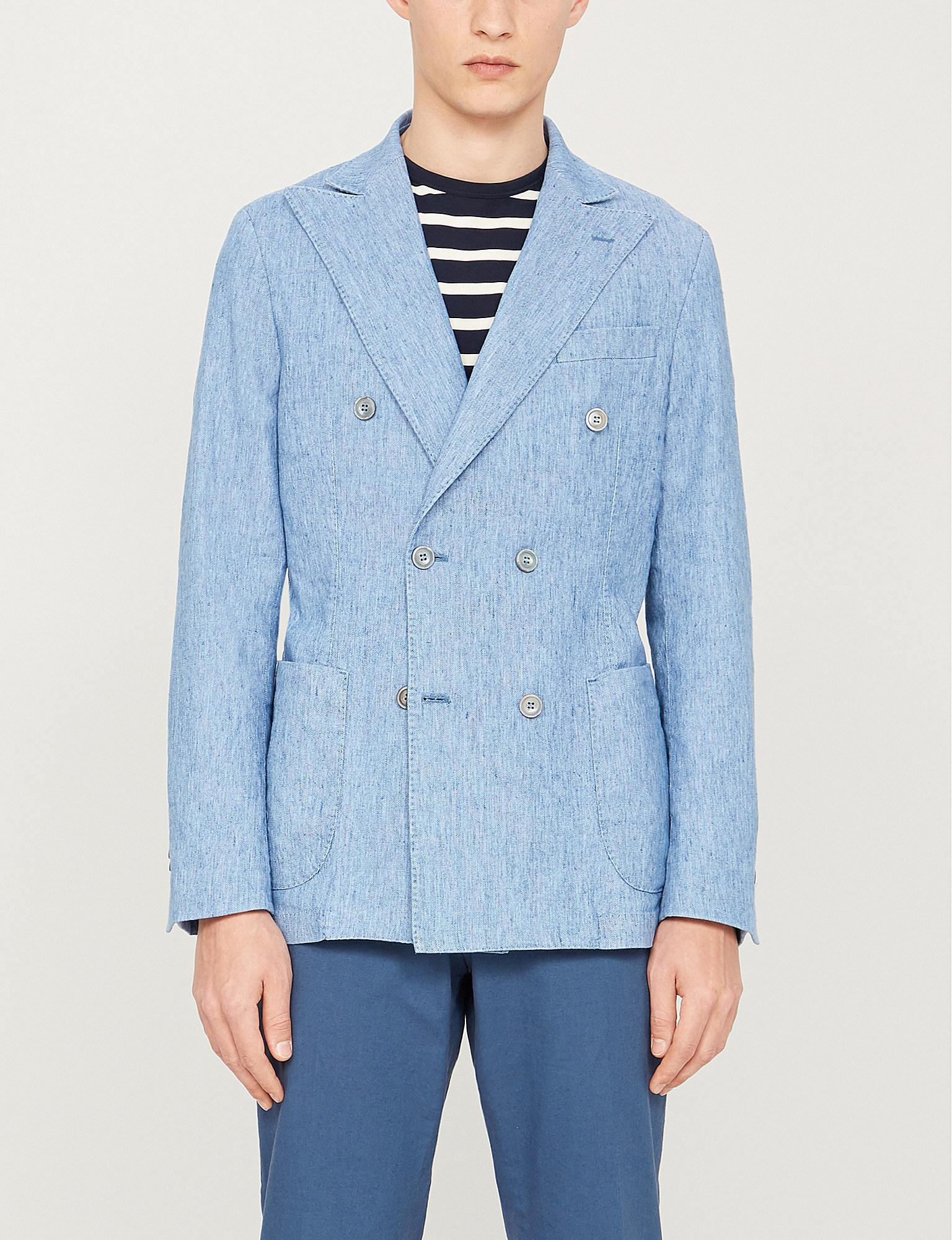 9177056fbd Lyst - Oscar Jacobson Erik Slim-fit Double-breasted Cotton-and-linen ...