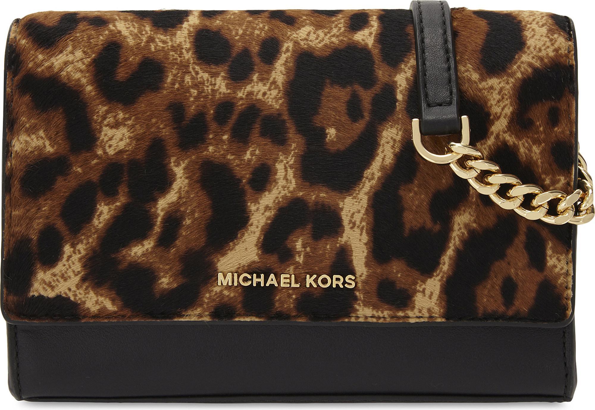Lyst - MICHAEL Michael Kors Ruby Medium Leopard-print Leather And ... e0217e34b8195