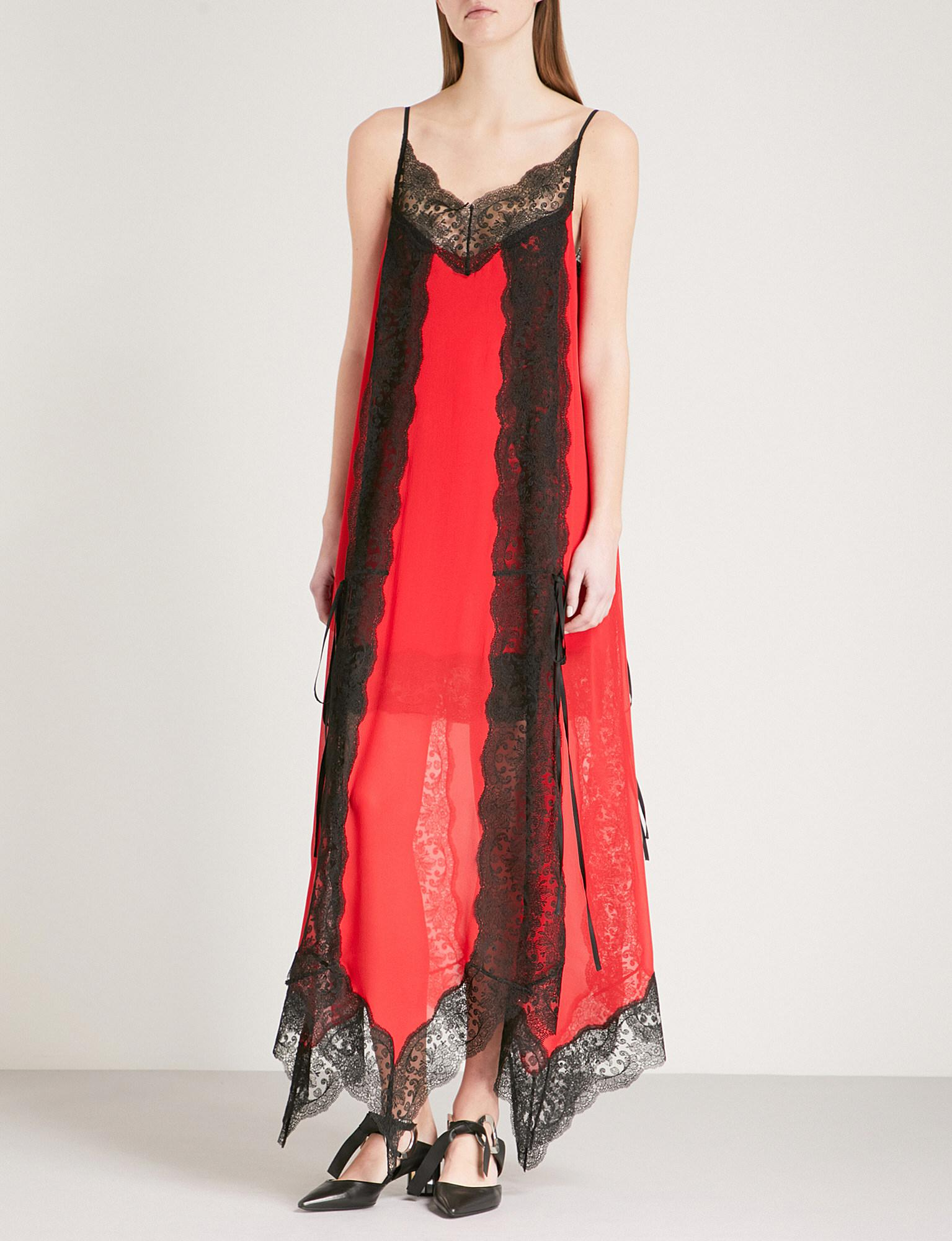 8d3cca5f3519 Christopher Kane Layered Lace-trim Silk-chiffon Dress in Red - Lyst