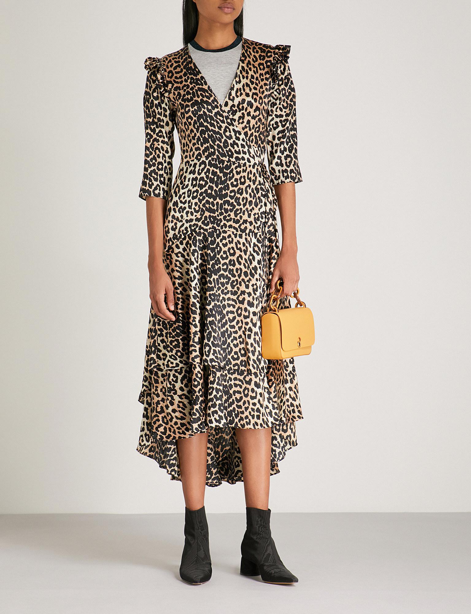 2cfa16698fd095 Ganni Calla Leopard-print Stretch-silk Wrap Dress in Black - Lyst