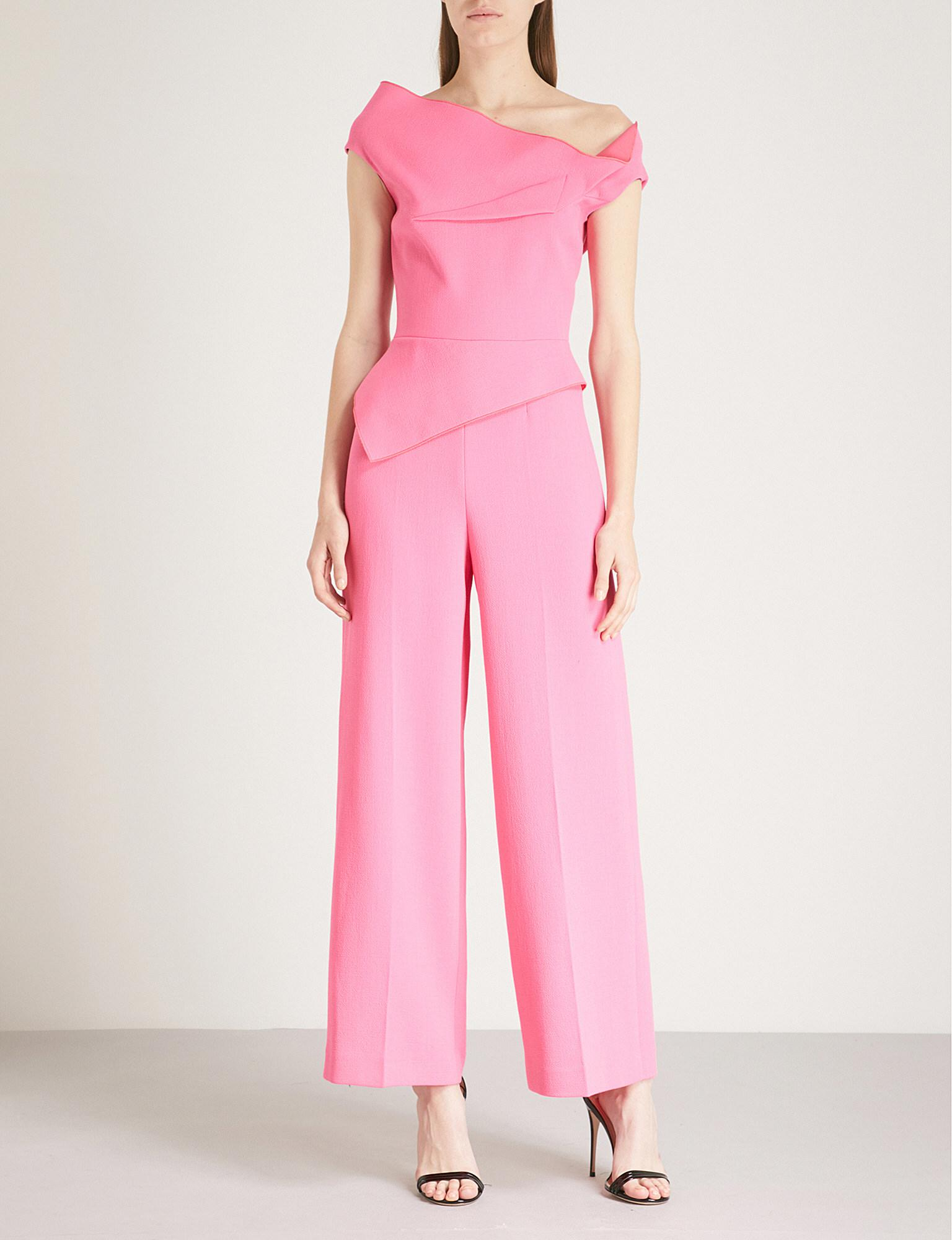3c1478feed3 Lyst - Roland Mouret Gable Wool-crepe Jumpsuit in Pink