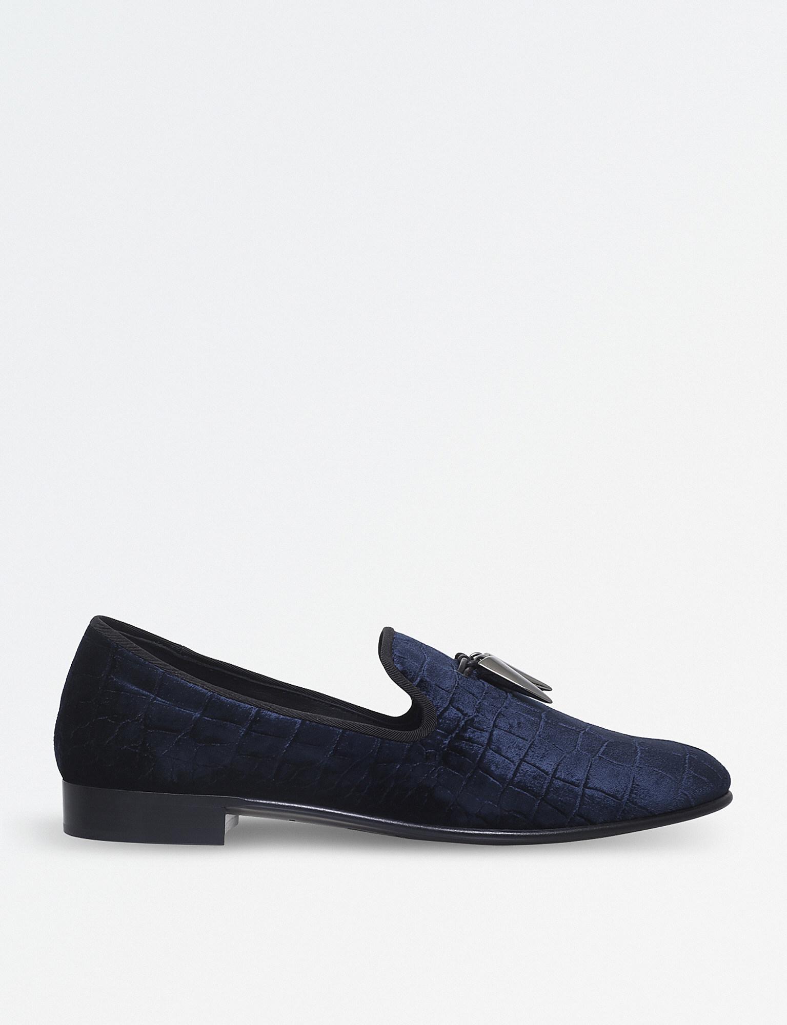 Spacey velvet slippers - Blue Giuseppe Zanotti JFtJfMINY
