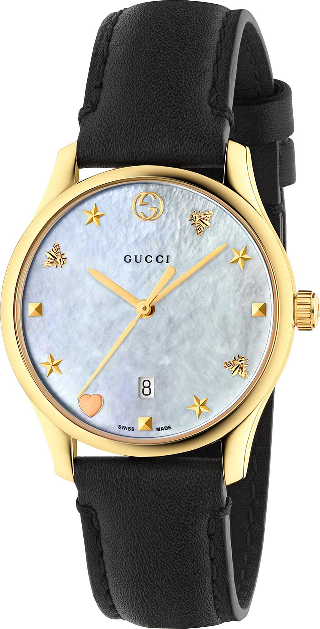 deaf9b37986 Gucci Ya126589 G-timeless Mother-of-pearl And Leather Strap Quartz ...
