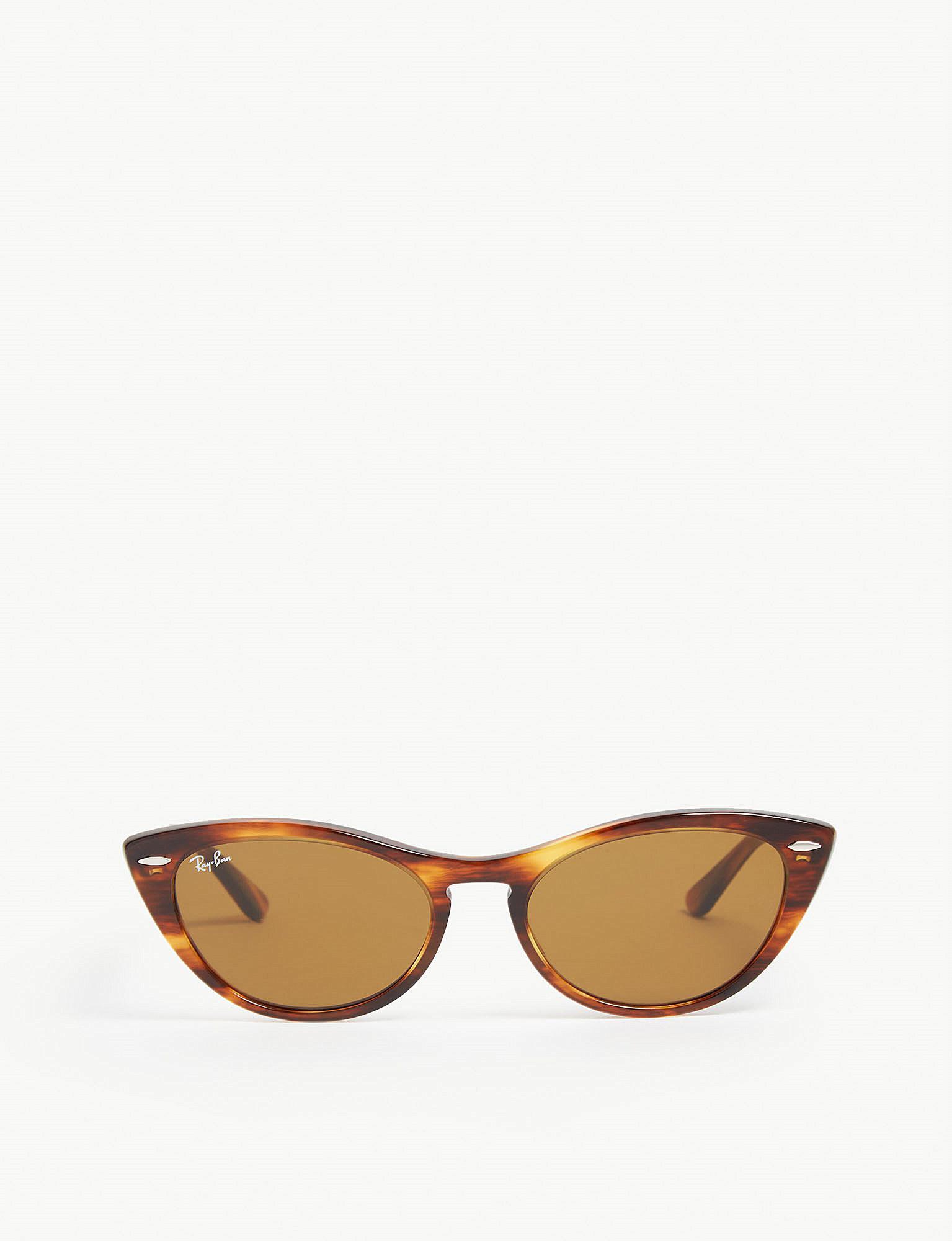 3674985815 Lyst - Ray-Ban Rb4314 Nina Cat-eye-frame Havana Sunglasses in Brown