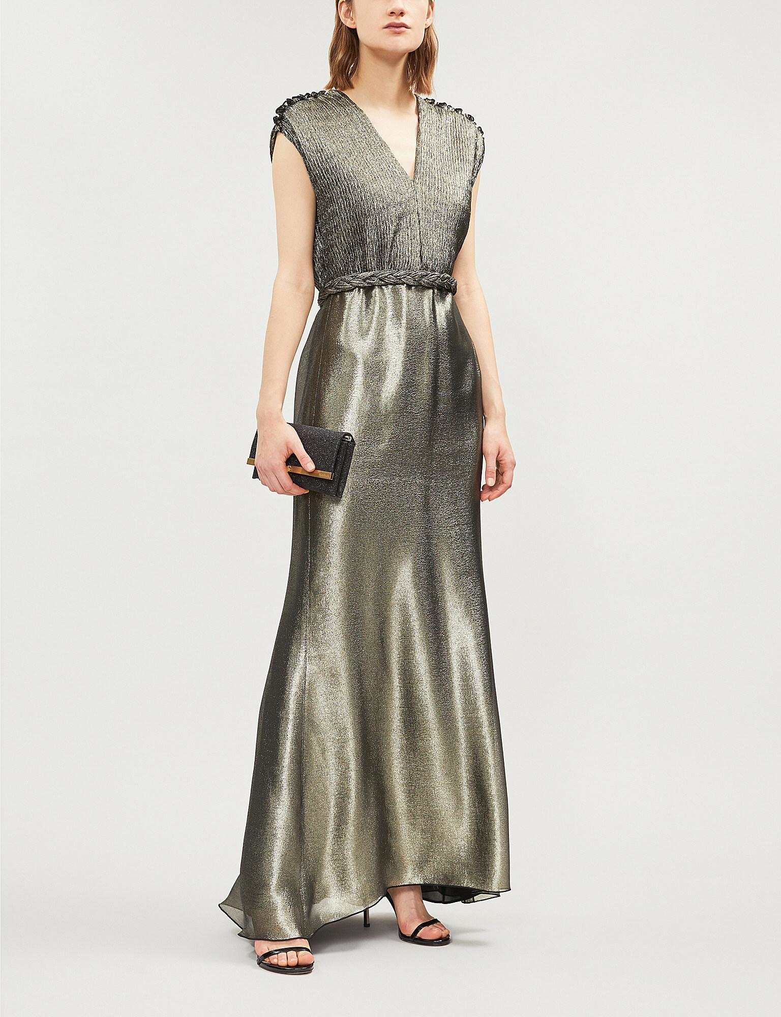 Lyst - Max Mara Elegante Bacio Plissé-detail Lamé Gown in Metallic 79ca23333e8