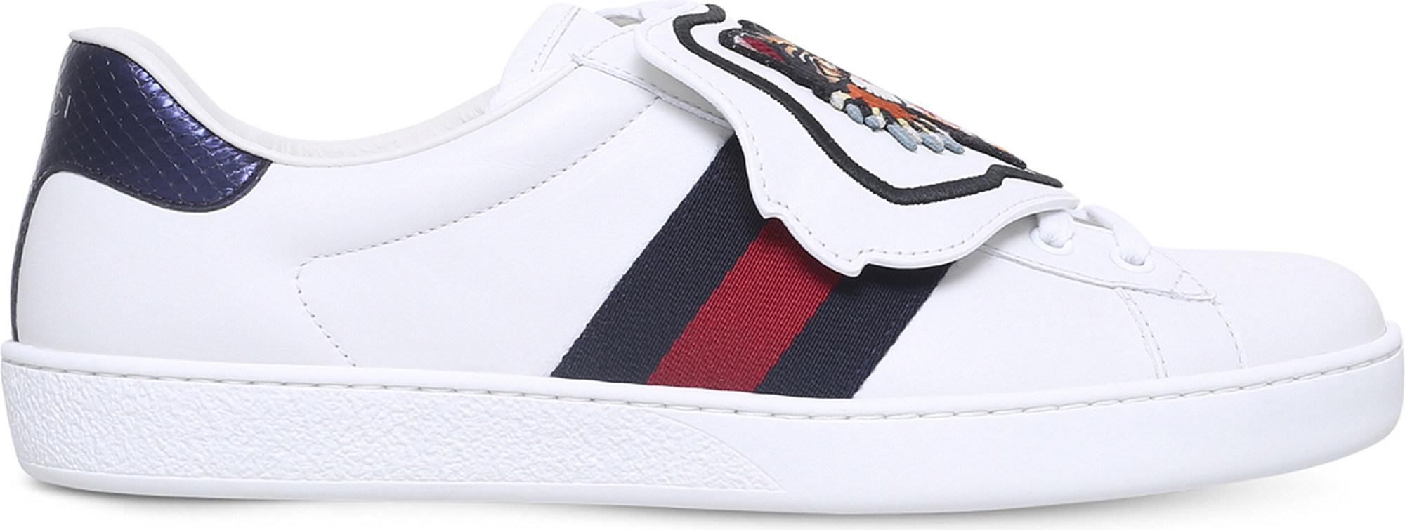 bd49c3cc70f Gucci New Ace Cat Patch Leather Trainers in White for Men - Lyst