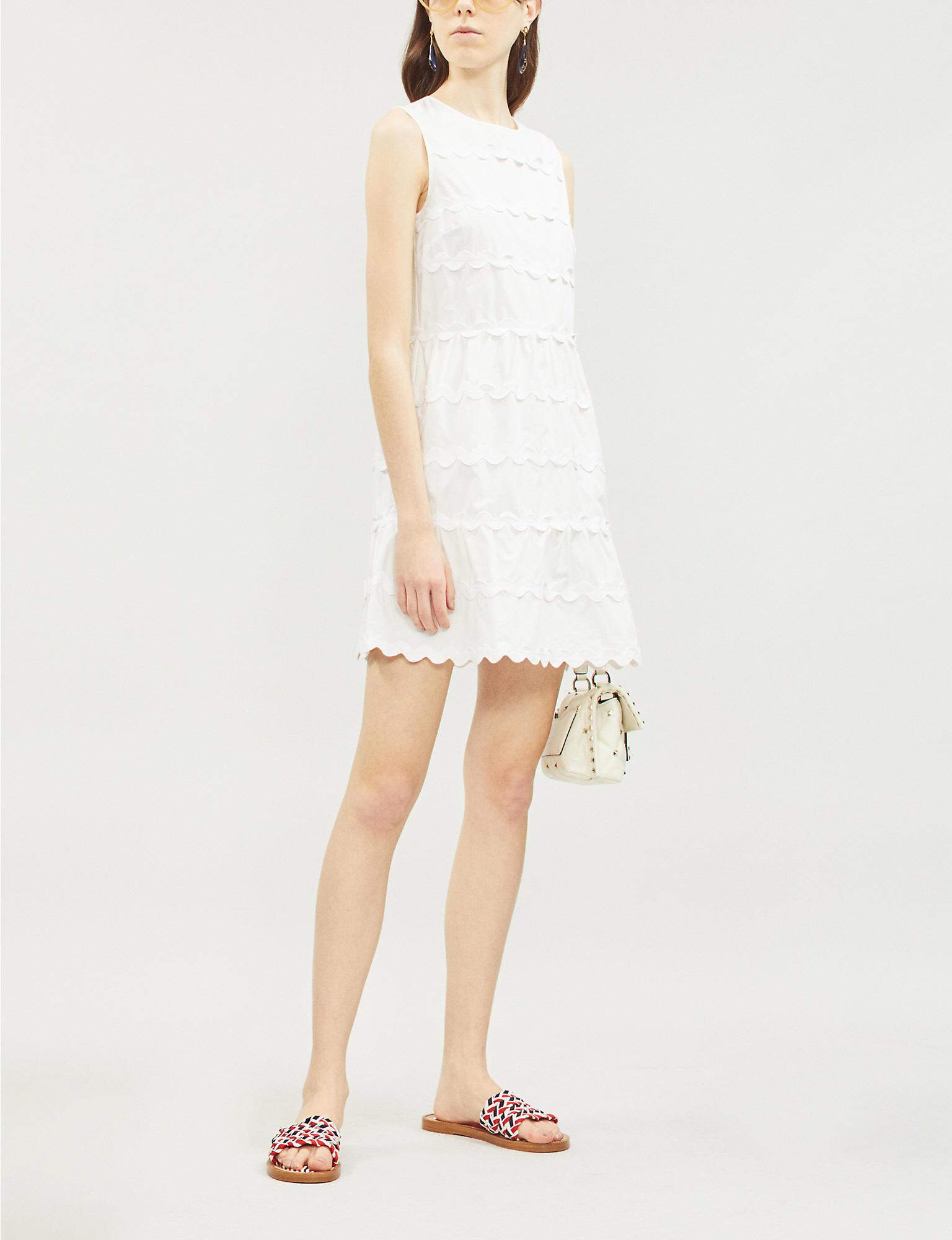 d325578f27f82 RED Valentino Scalloped-panel Cotton-crepe Dress in White - Lyst