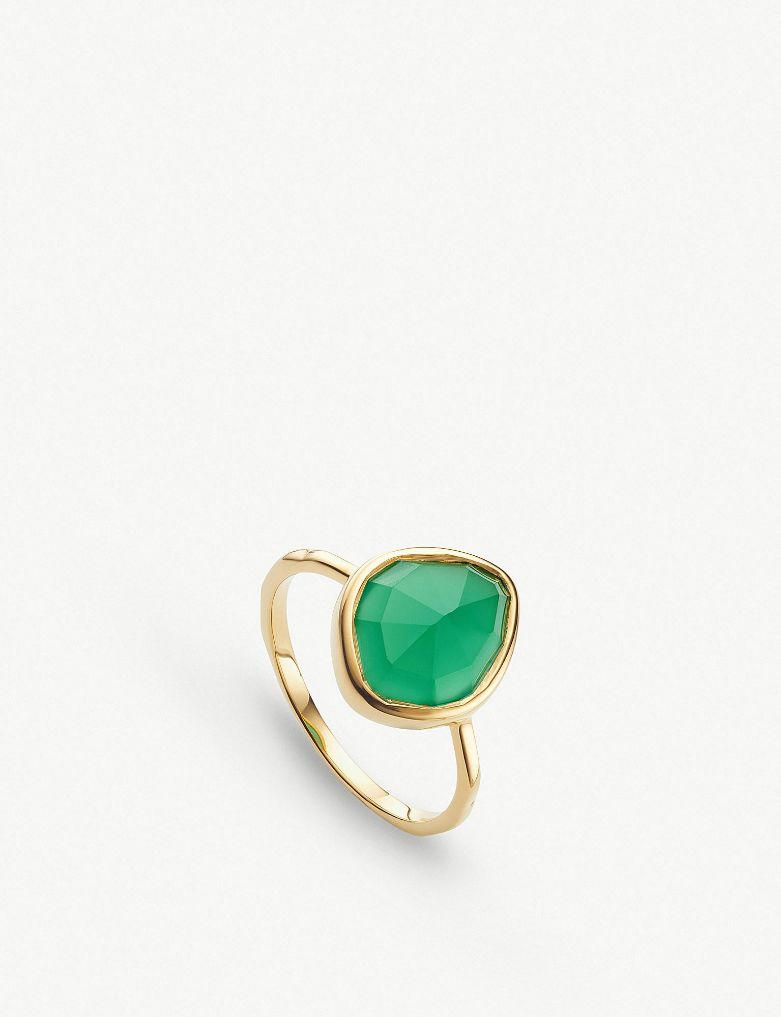 Gold Siren Medium Stacking Ring Green Onyx Monica Vinader FN6kA7RZZ