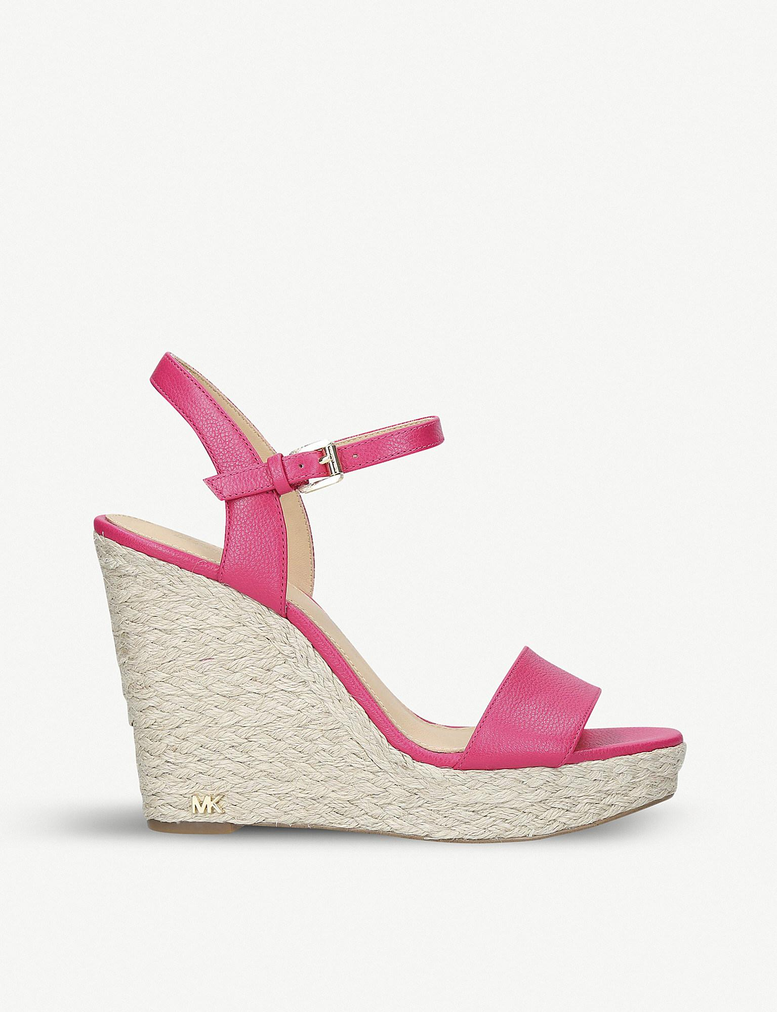 b46463ca76c MICHAEL Michael Kors Jill Leather Wedge Sandals in Pink - Lyst