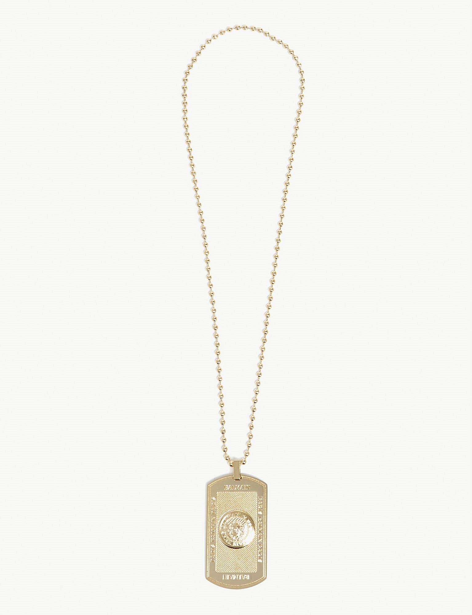 Balmain engraved tag necklace - Metallic Qu887RgI