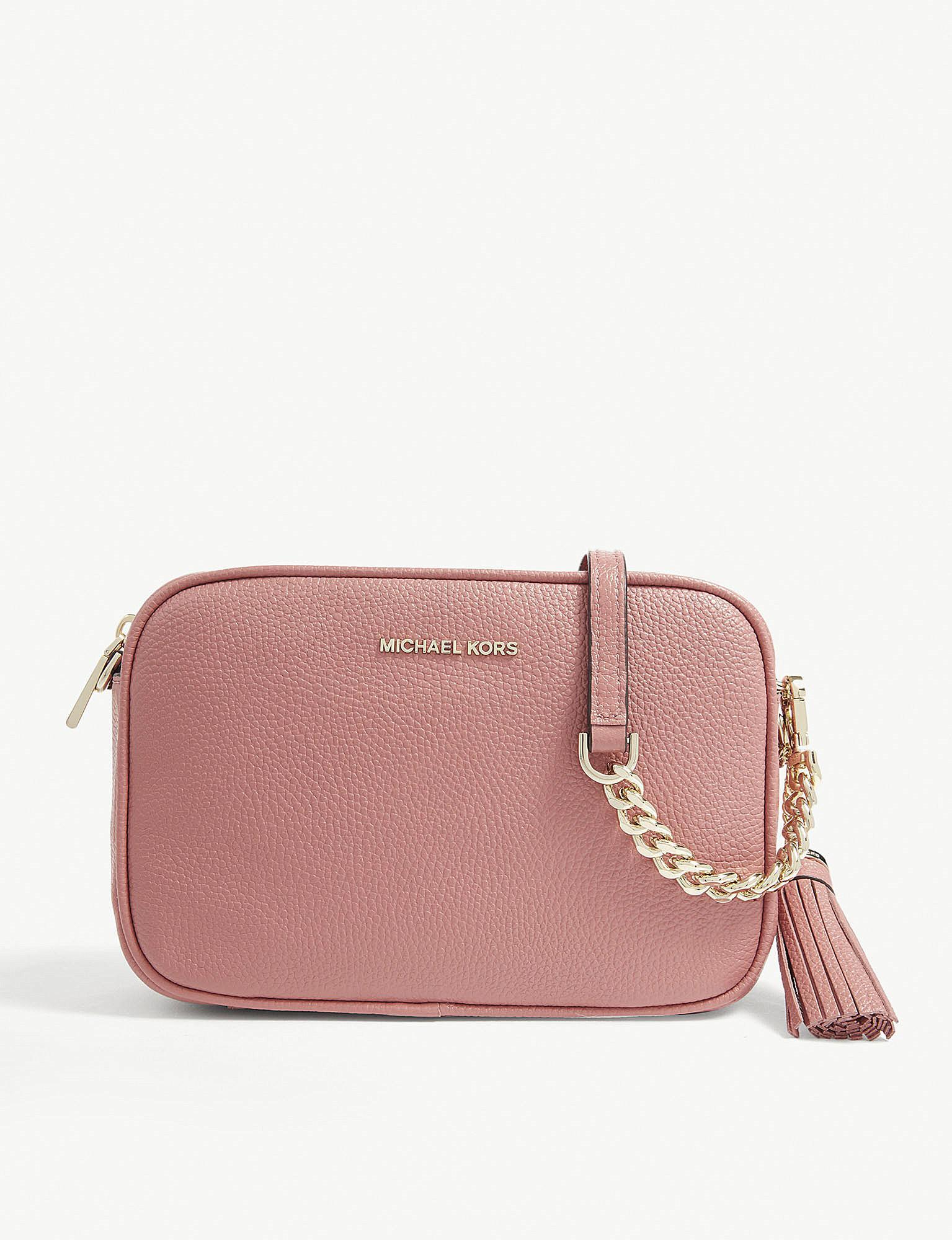 144d6667eec35 MICHAEL Michael Kors Ginny Leather Cross-body Bag in Pink - Lyst
