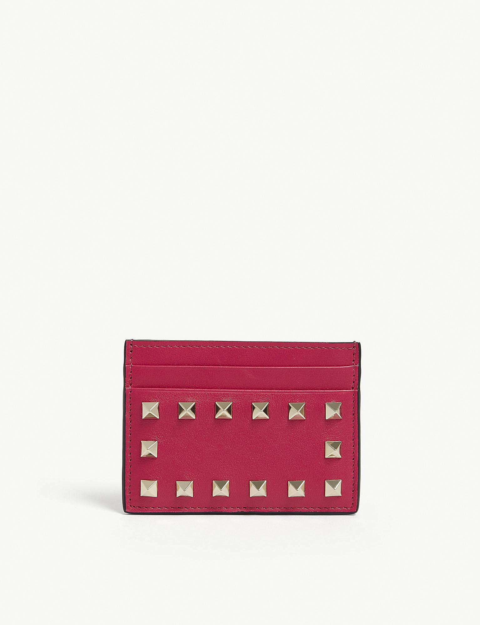 5713709a0a9d3 Lyst - Valentino Disco Pink Rockstud Card Holder in Pink