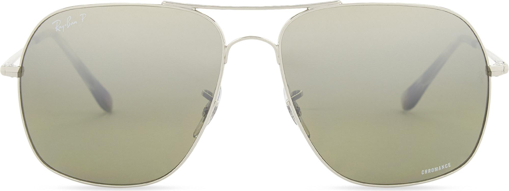 2bf07eff04 Ray-Ban Rb3587 Chromance Square-frame Sunglasses in Metallic - Lyst
