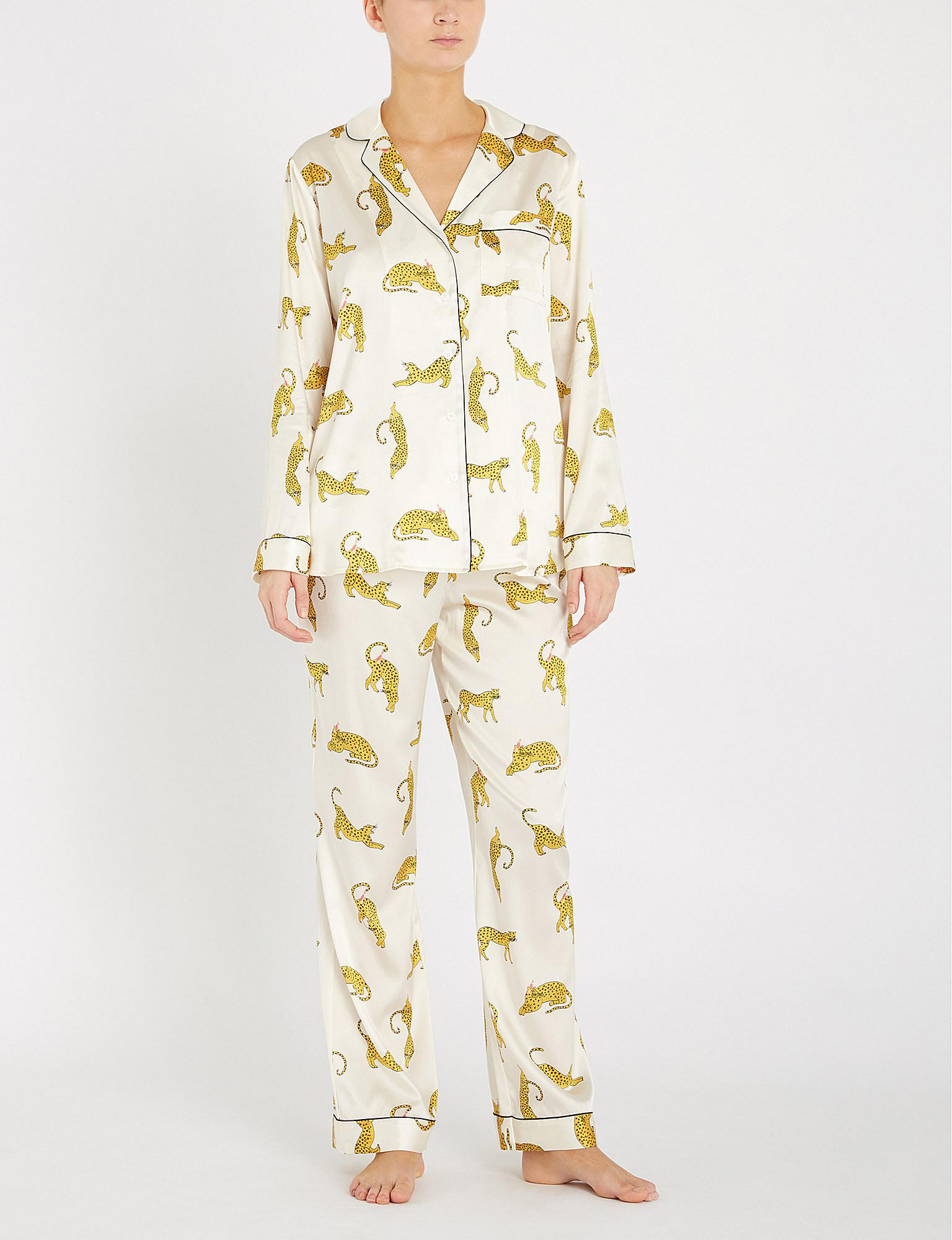 649e2cf806 Yolke - Multicolor Prowling Stretch-silk Pyjama Set - Lyst. View fullscreen