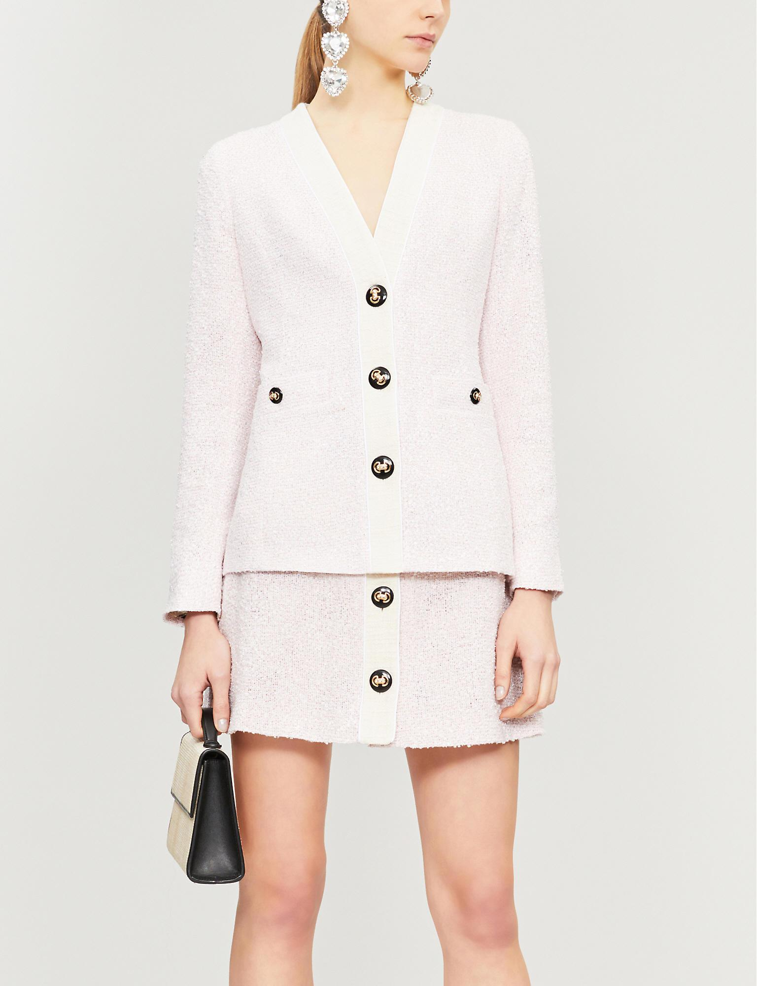 2377a2552b9a Alessandra Rich Buttoned High-waist Tweed Mini Skirt in Pink - Lyst