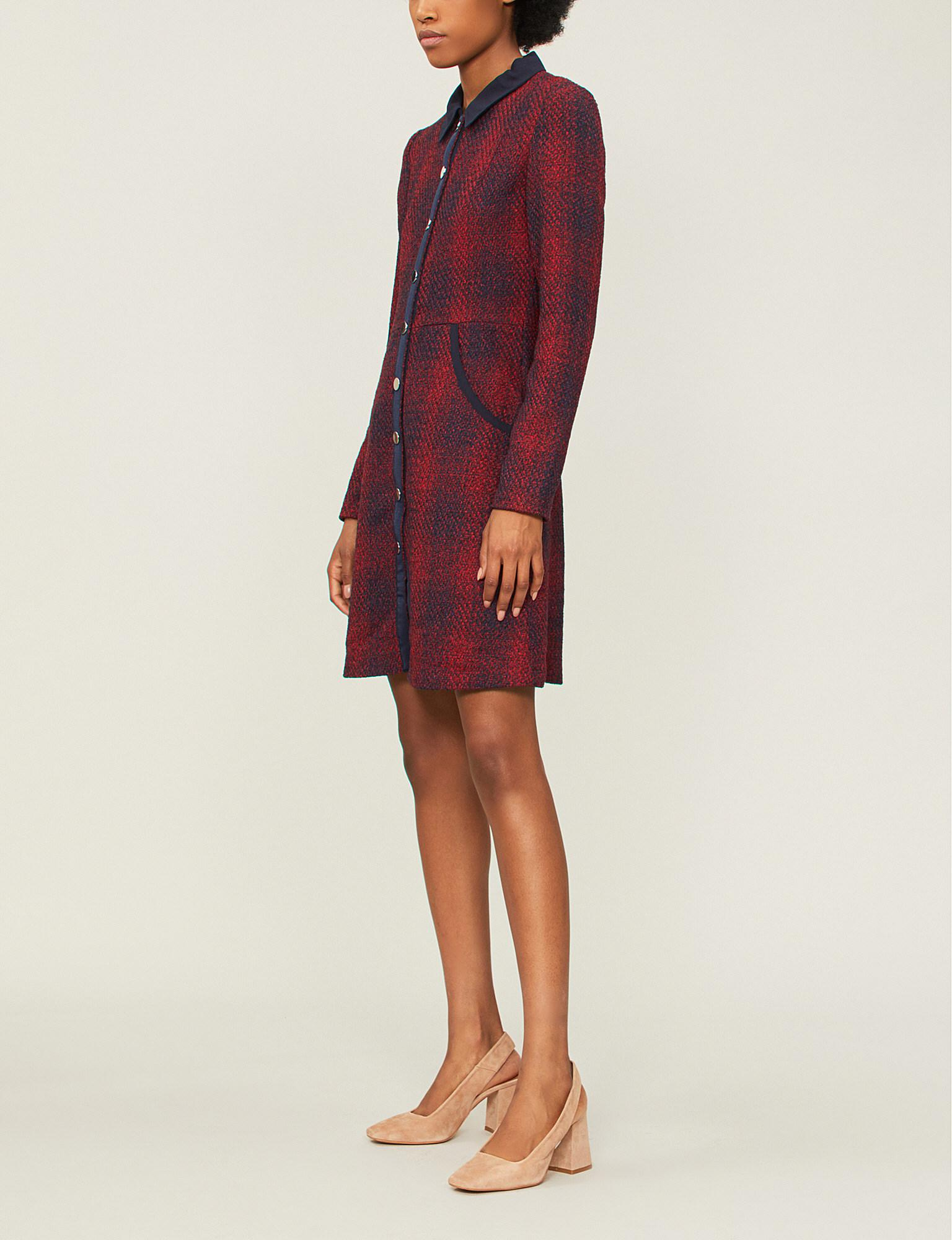 11bcf2934f Lyst - Maje Renitia Checked Woven Dress in Red