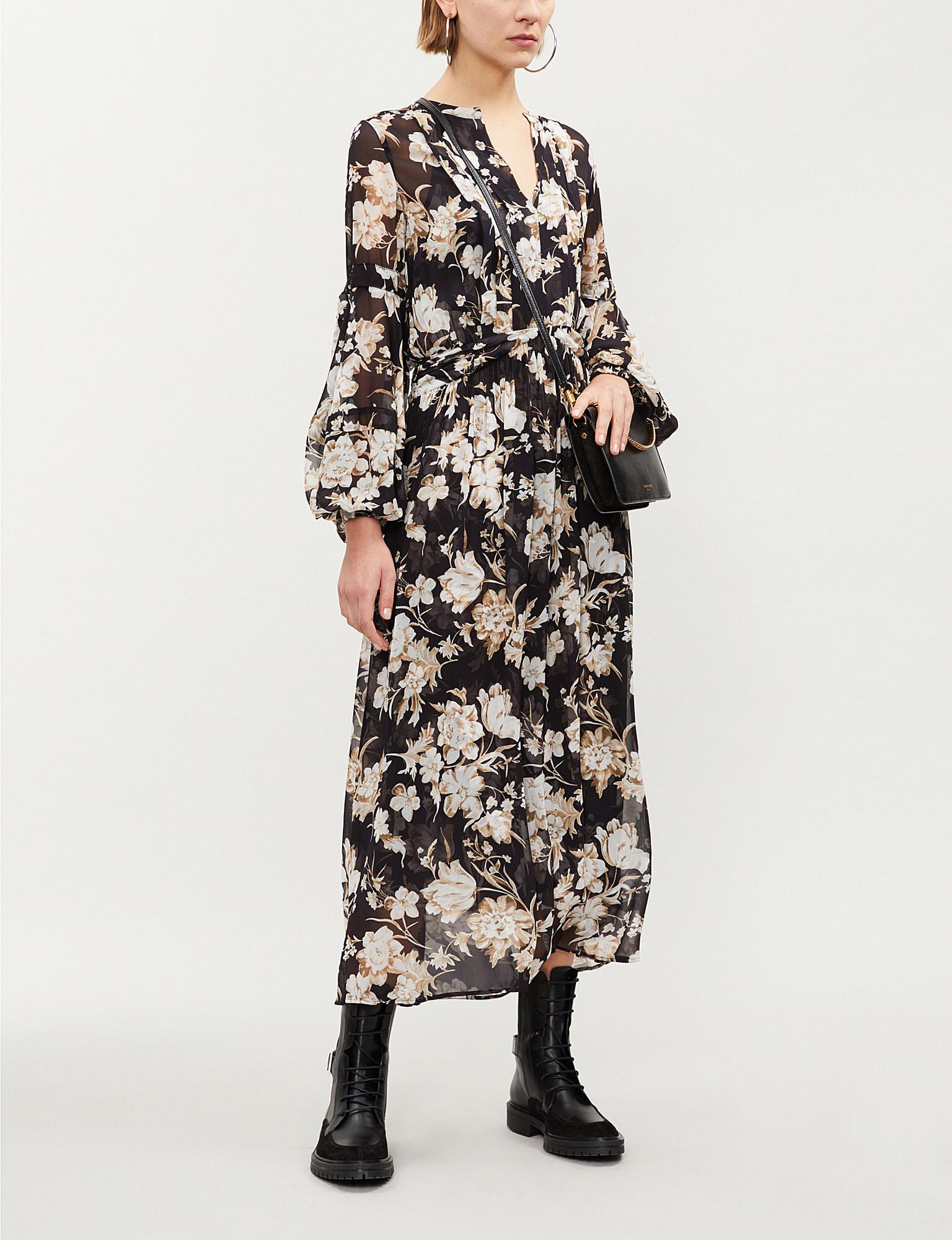 624c91d07f The Kooples Floral-print Crepe Midi Dress in Black - Lyst