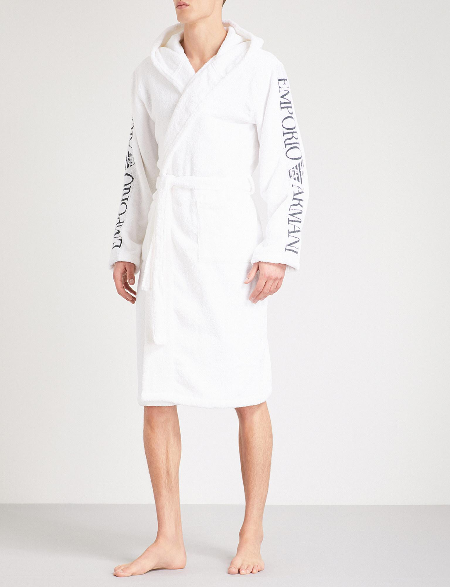 Lyst - Emporio Armani Hooded Towelling Dressing Gown in White for Men