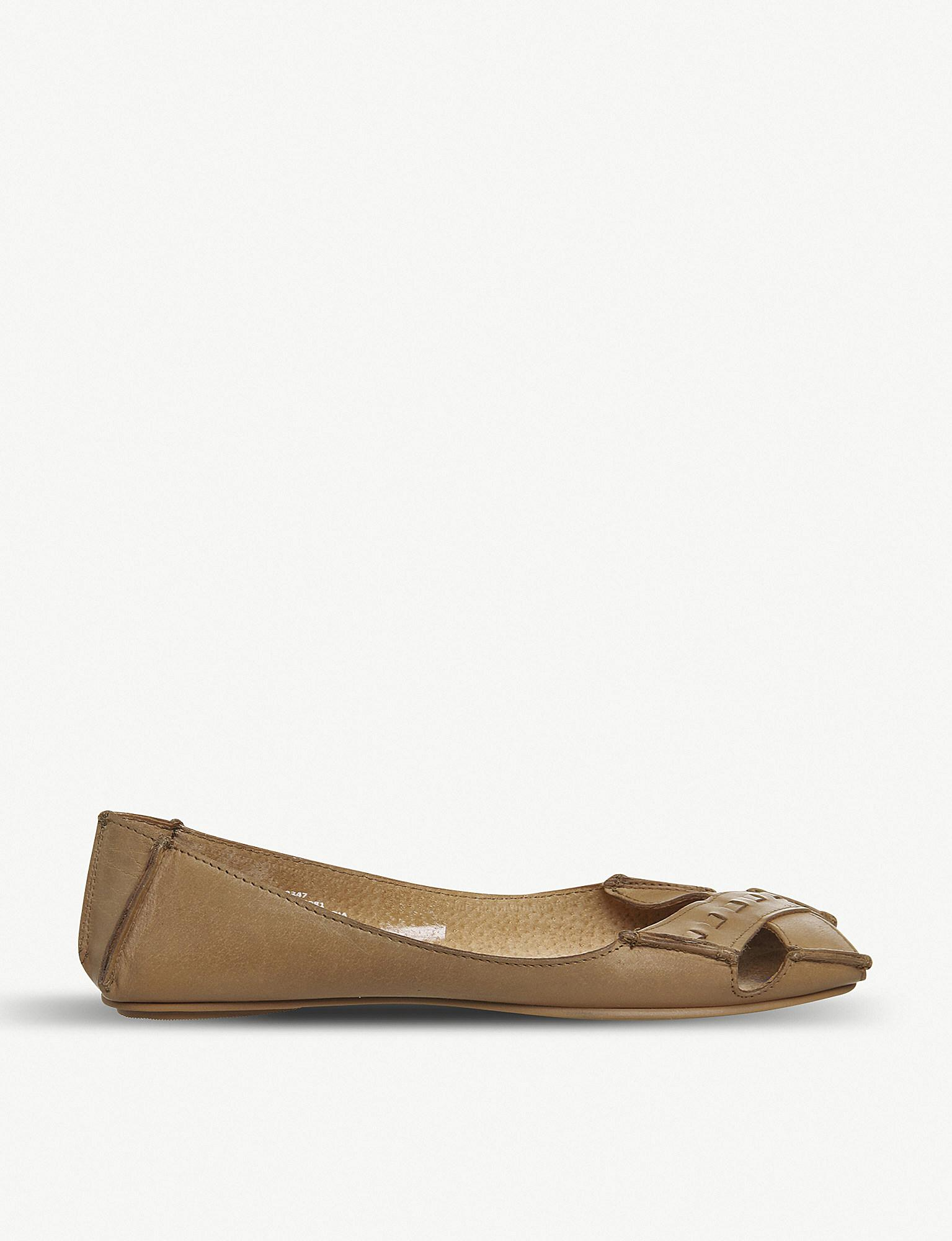 75e25de78435 Lyst - Office Face To Face Leather Peep-toe Flats in Brown