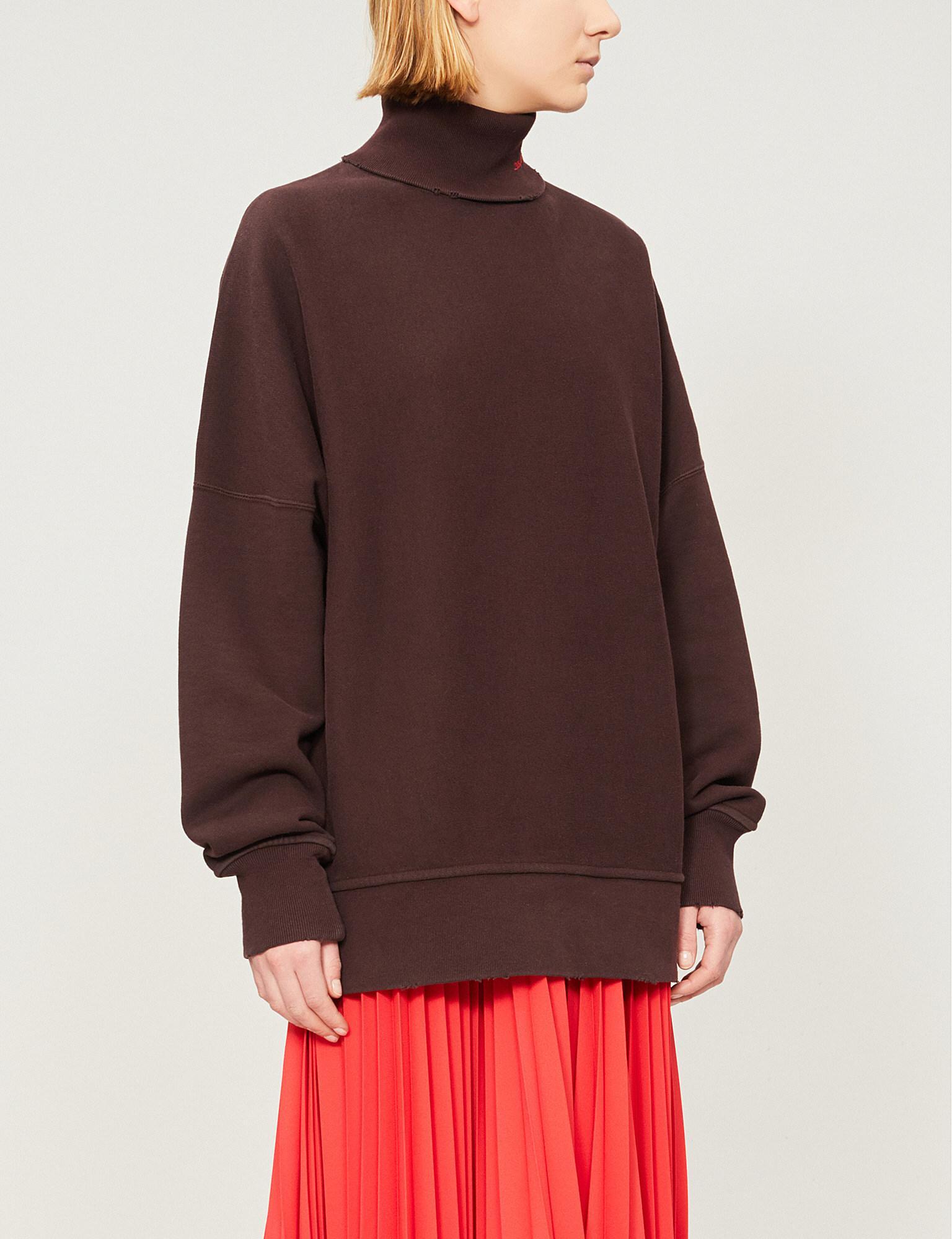 2176613b998b CALVIN KLEIN 205W39NYC. Women s Brown Logo-embroidered Turtleneck Stretch- cotton Sweatshirt