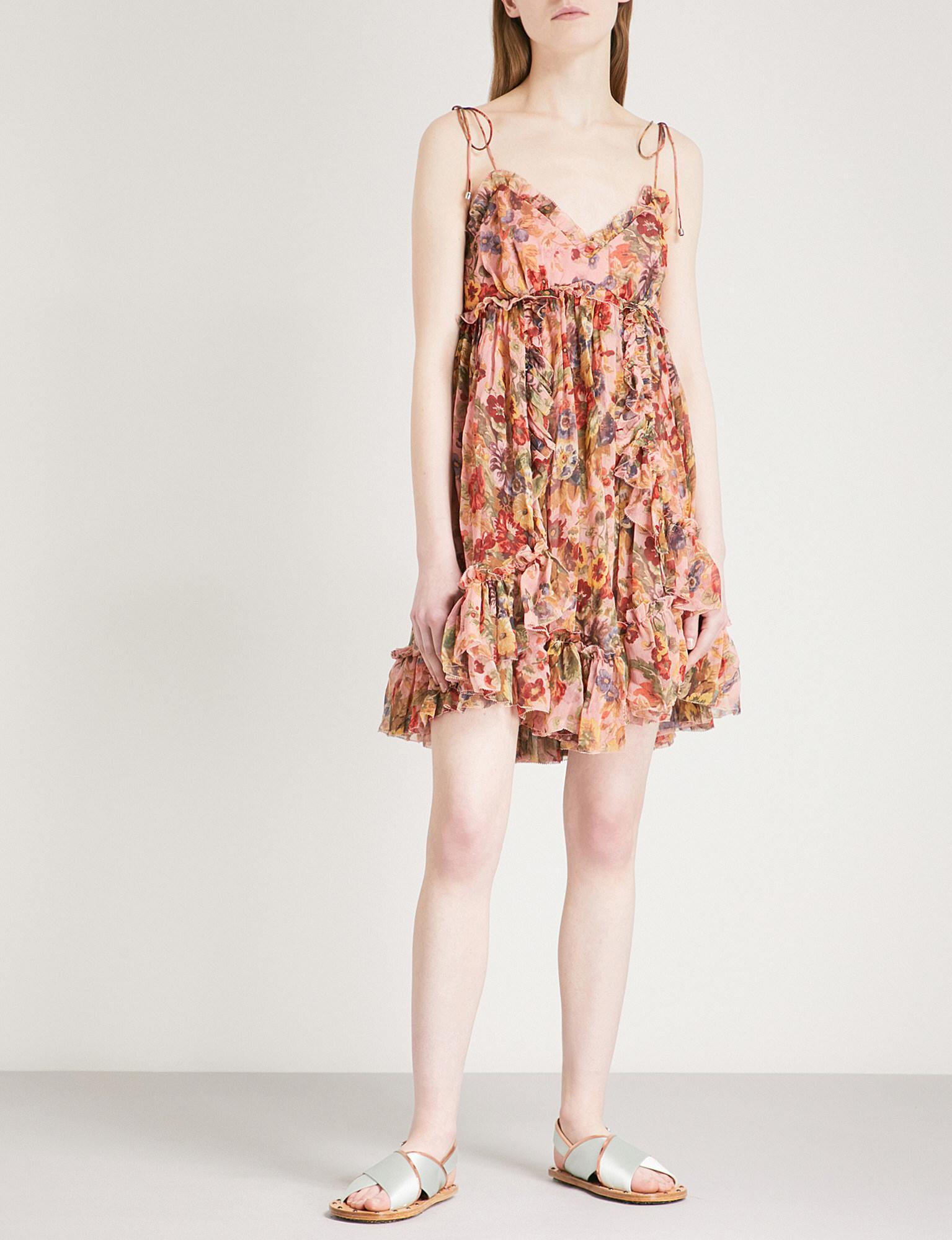 0561d5f1b3cf Lyst - Zimmermann Lovelorn Frill Silk-georgette Mini Dress in Pink