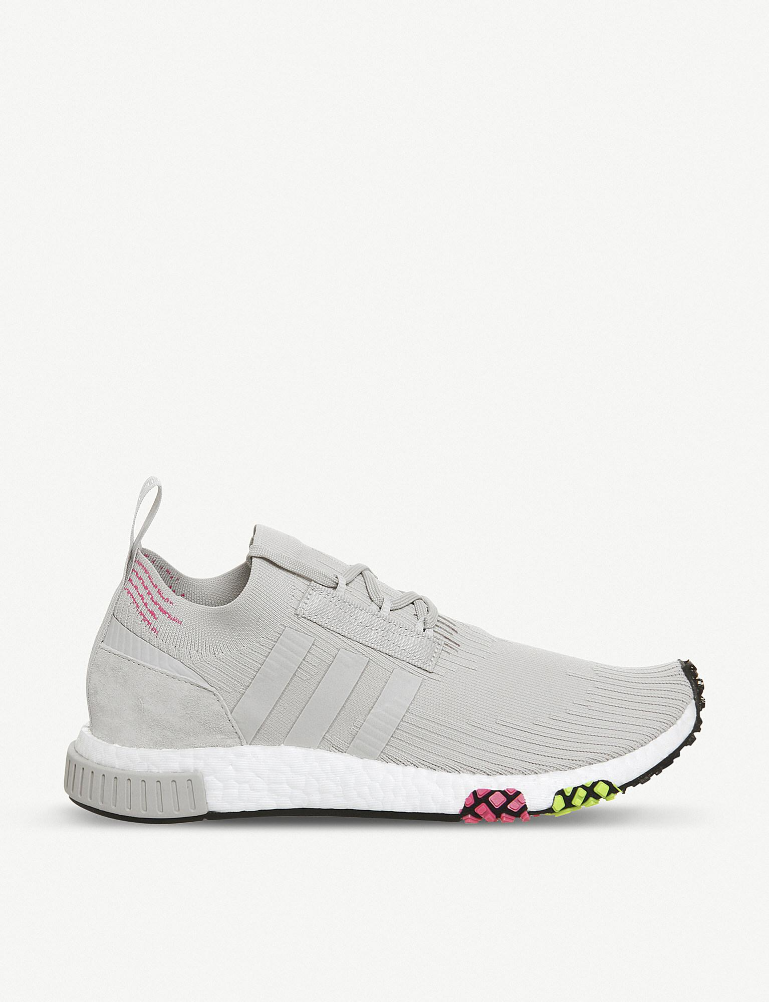 7a7661728b5d Lyst - adidas Nmd Racer Primeknit And Leather Trainers in Gray for Men