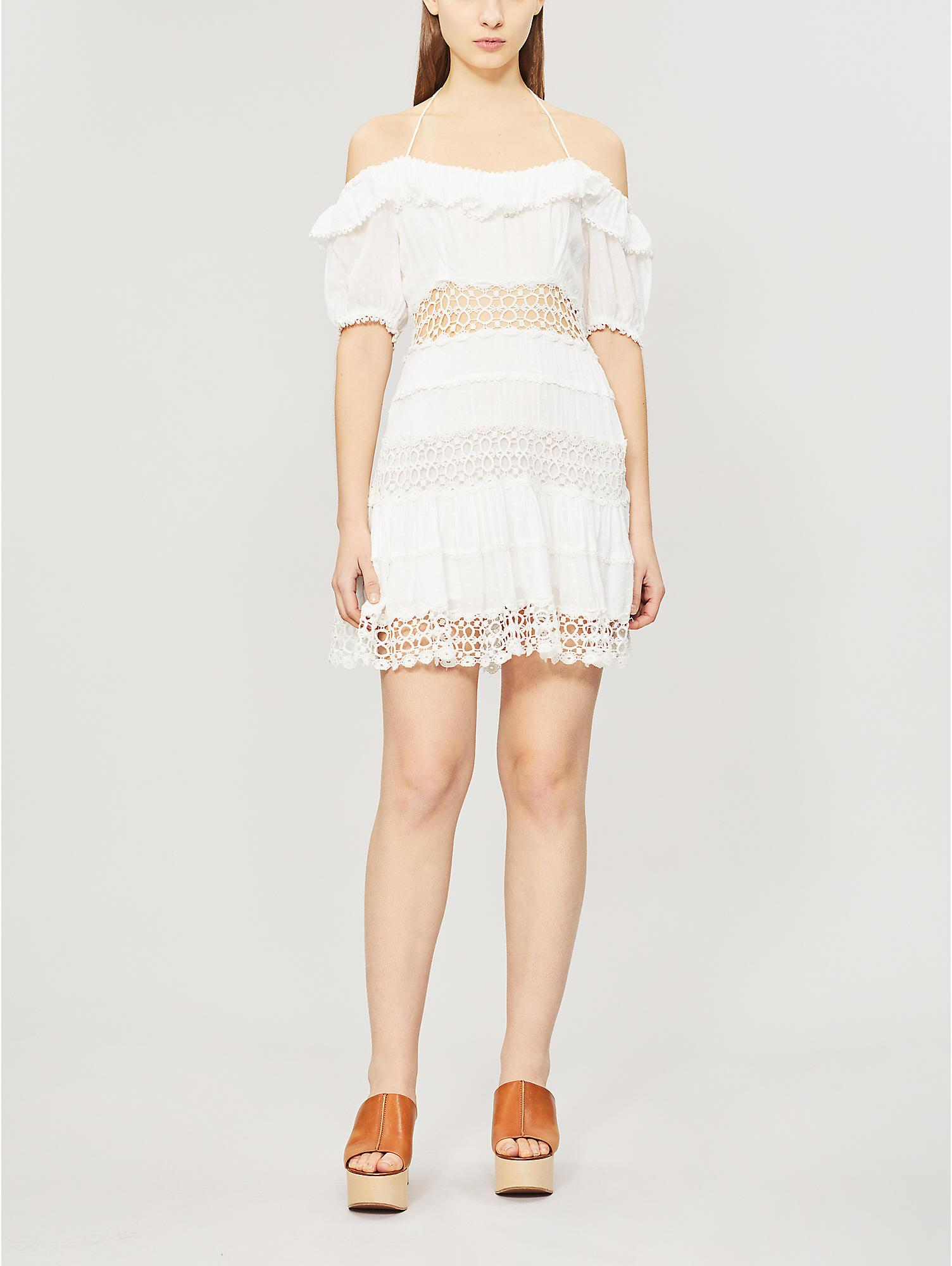 397efd4c94a Free People. Women's White Cruel Intention Cold-shoulder Lace-panelled Mini  Dress
