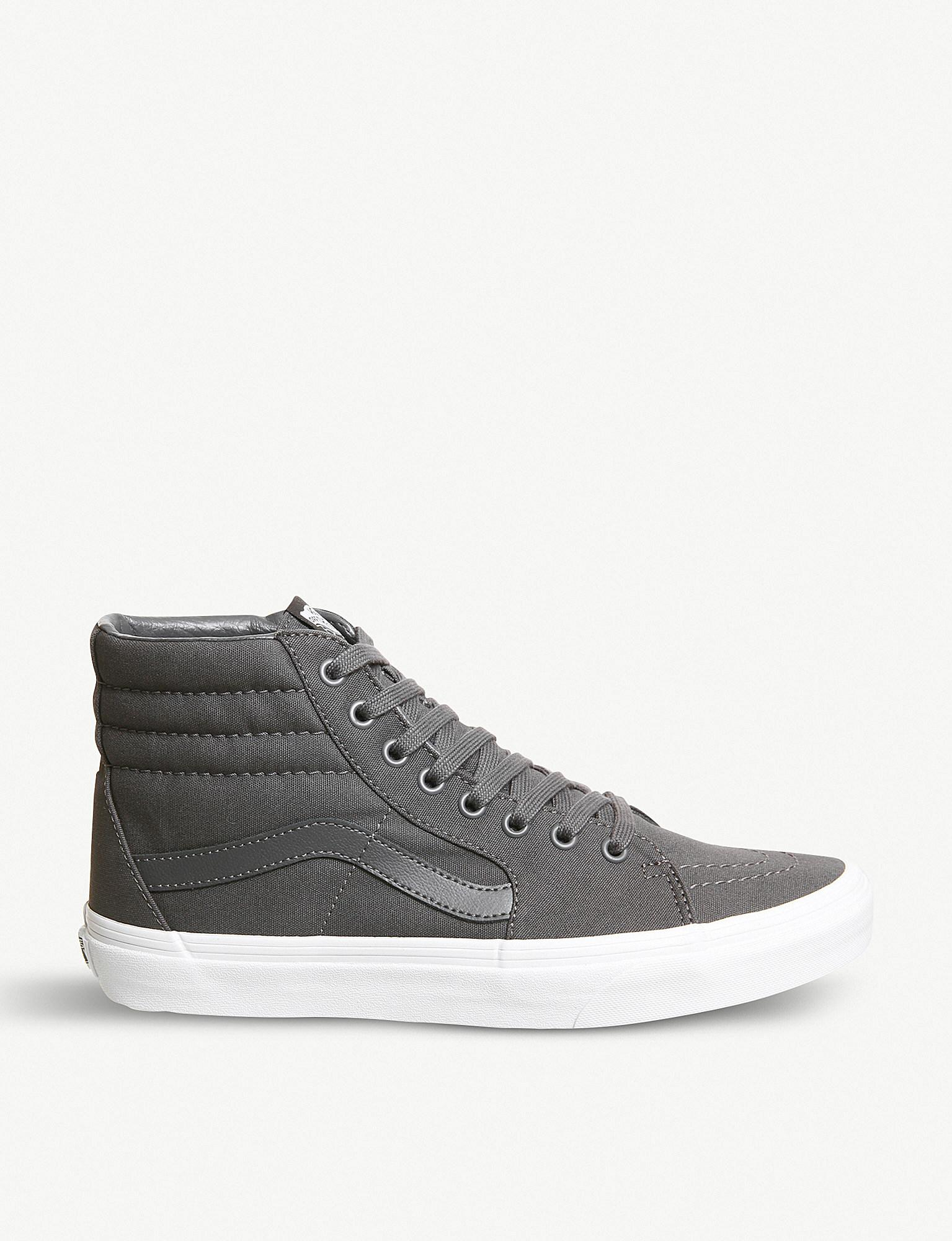 f1b864b39a1c3b Vans Sk8 Hi Canvas Trainers in Gray for Men - Lyst