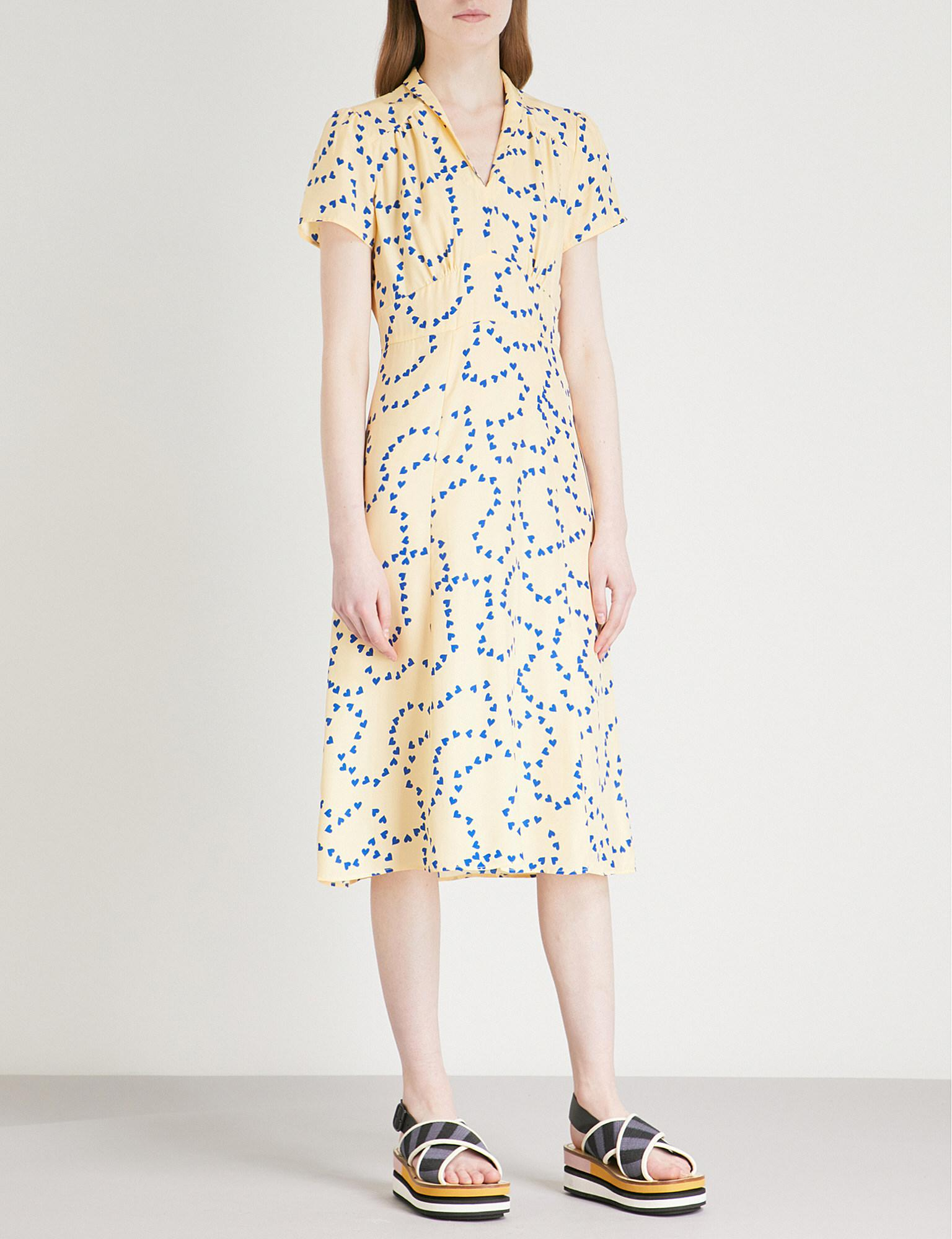 Clara Printed Silk-satin Dress - Black HVN NP0lFKigE