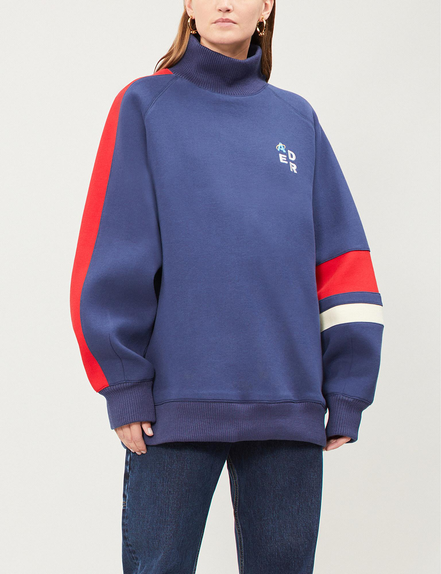 ADER error Oversized Cotton-jersey Sweatshirt in Blue - Lyst 62b1de26b