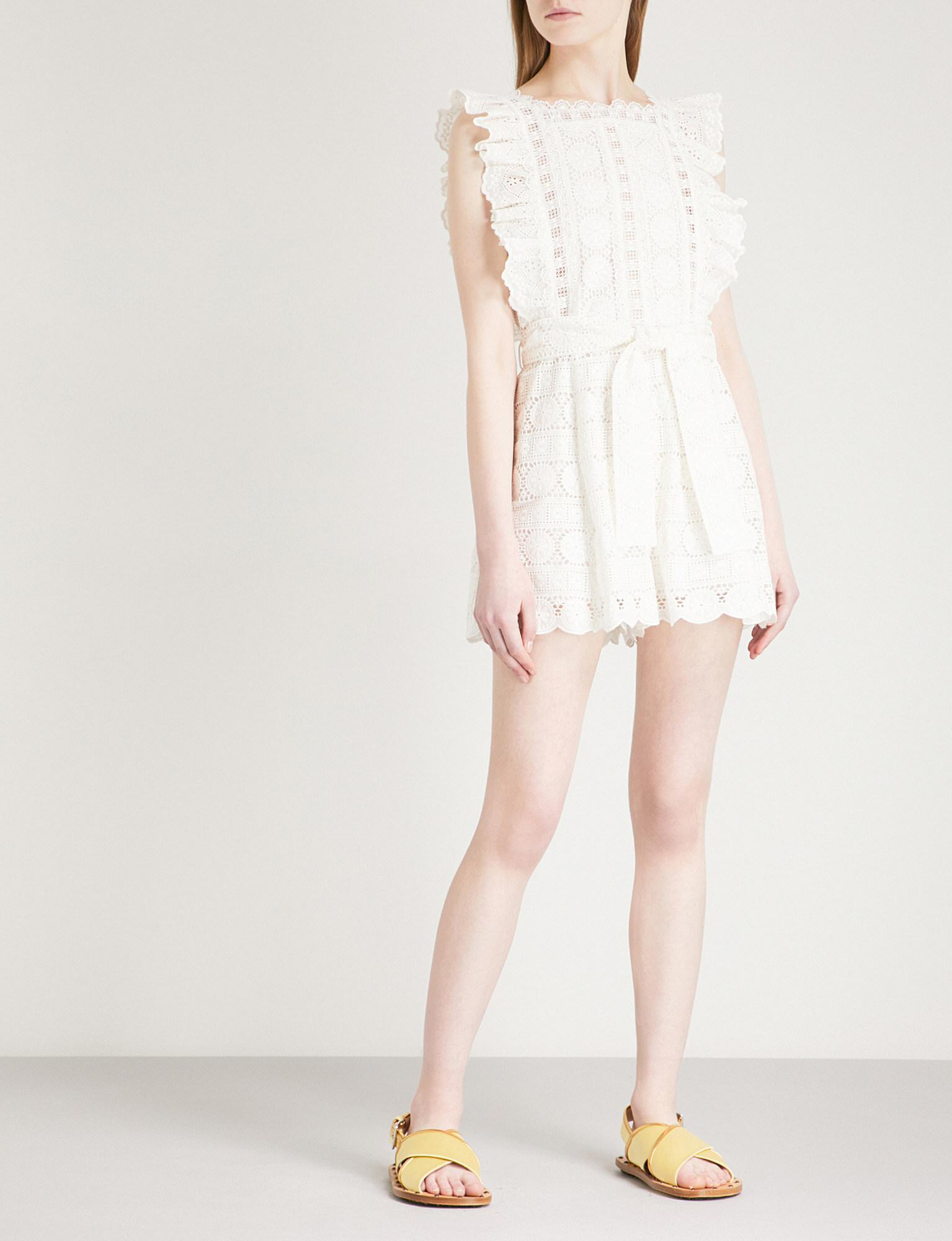 1f460e191e Lyst - Zimmermann Kali Daisy Broderie Anglaise Cotton Playsuit in White
