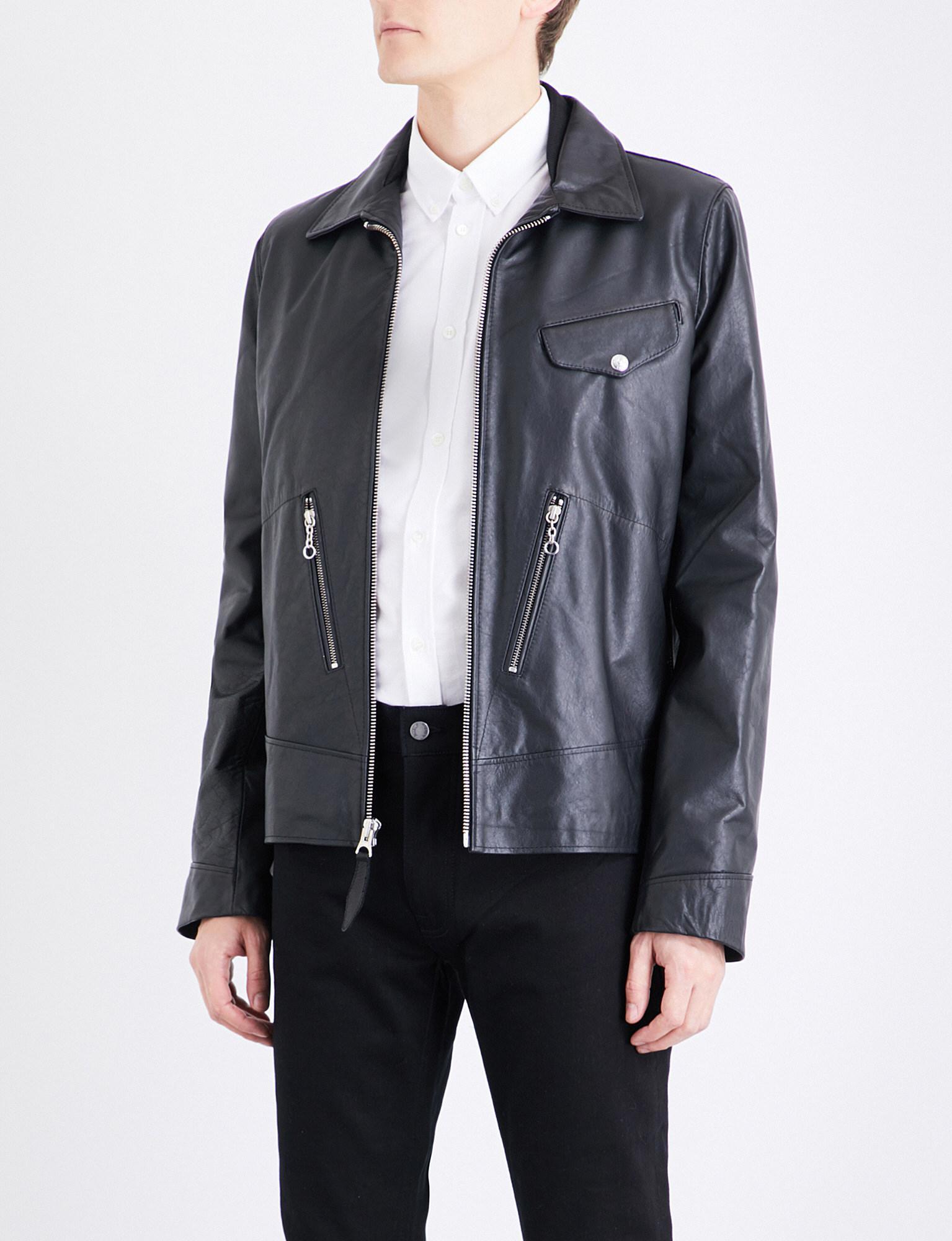 Schott nyc patch appliqué leather field jacket in black