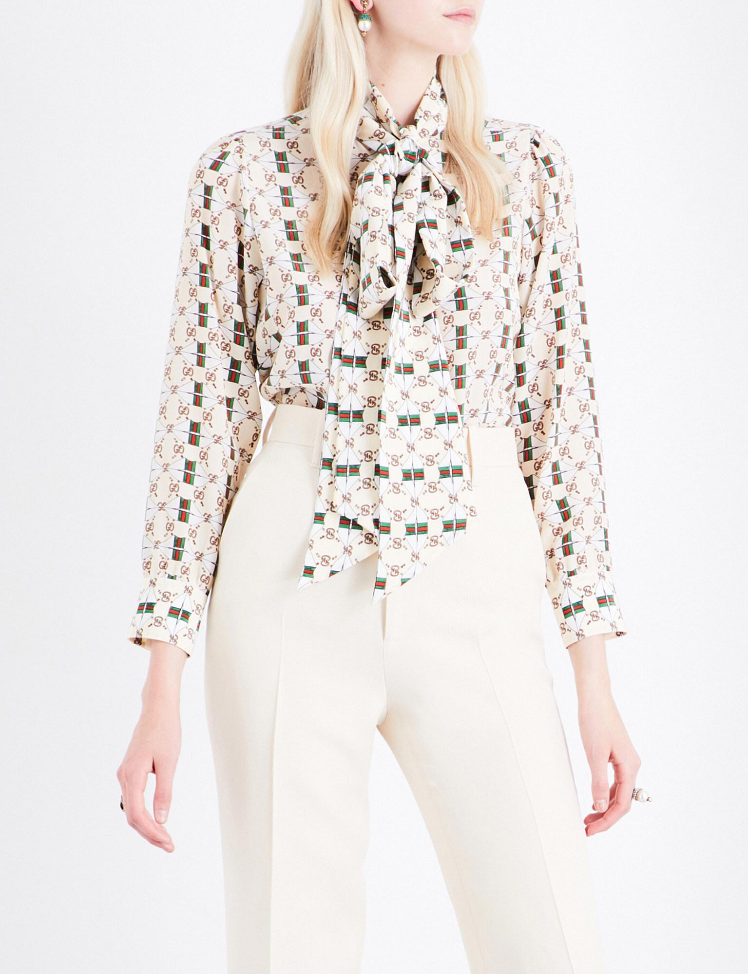 d4cce877f54ede Gucci Pussy-bow Monogram-print Silk Blouse in White - Lyst