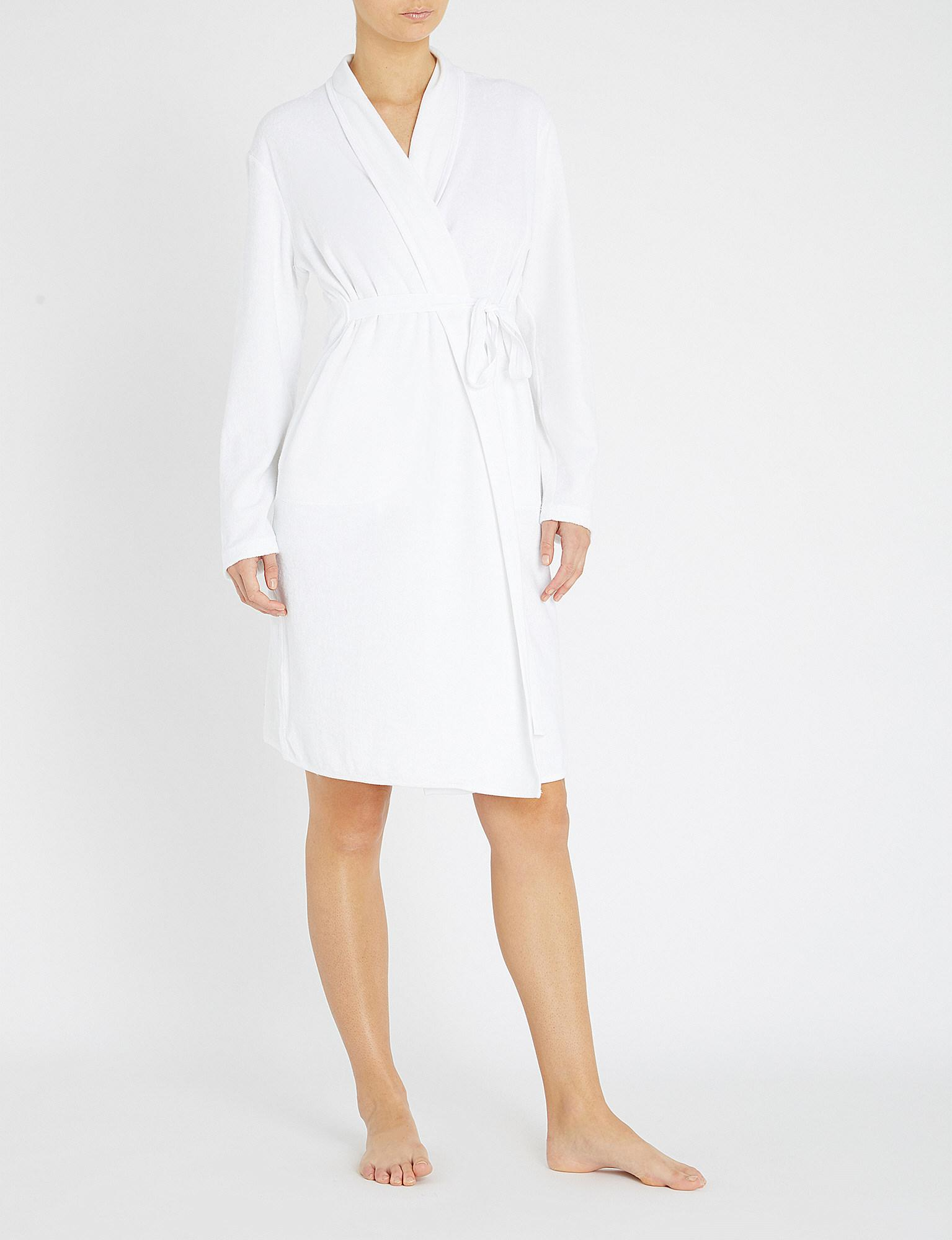 Skin Organic Cotton Towelling Dressing Gown In White Lyst