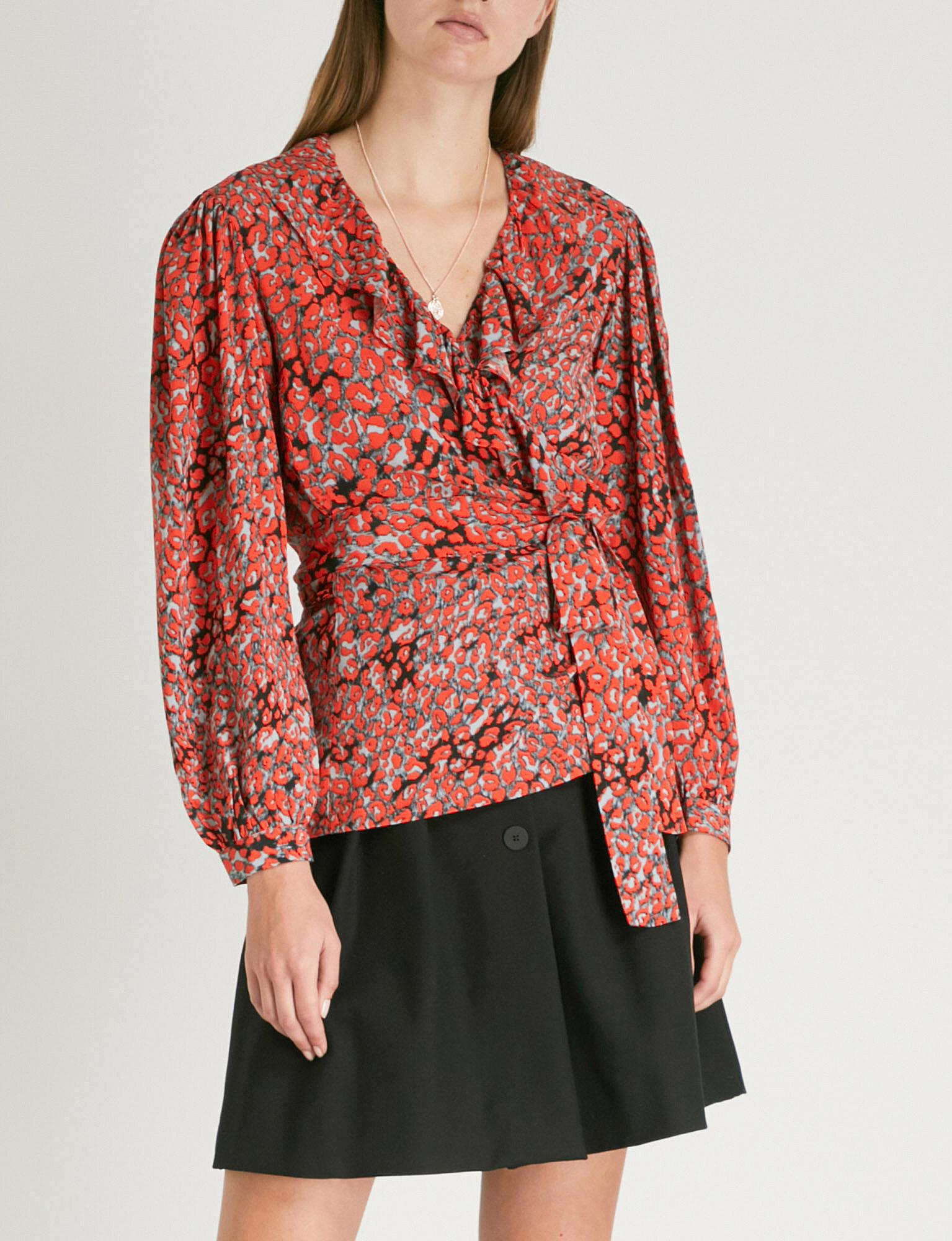 d4d6f278db241 Maje Wrap-front Leopard-print Woven Top in Red - Lyst
