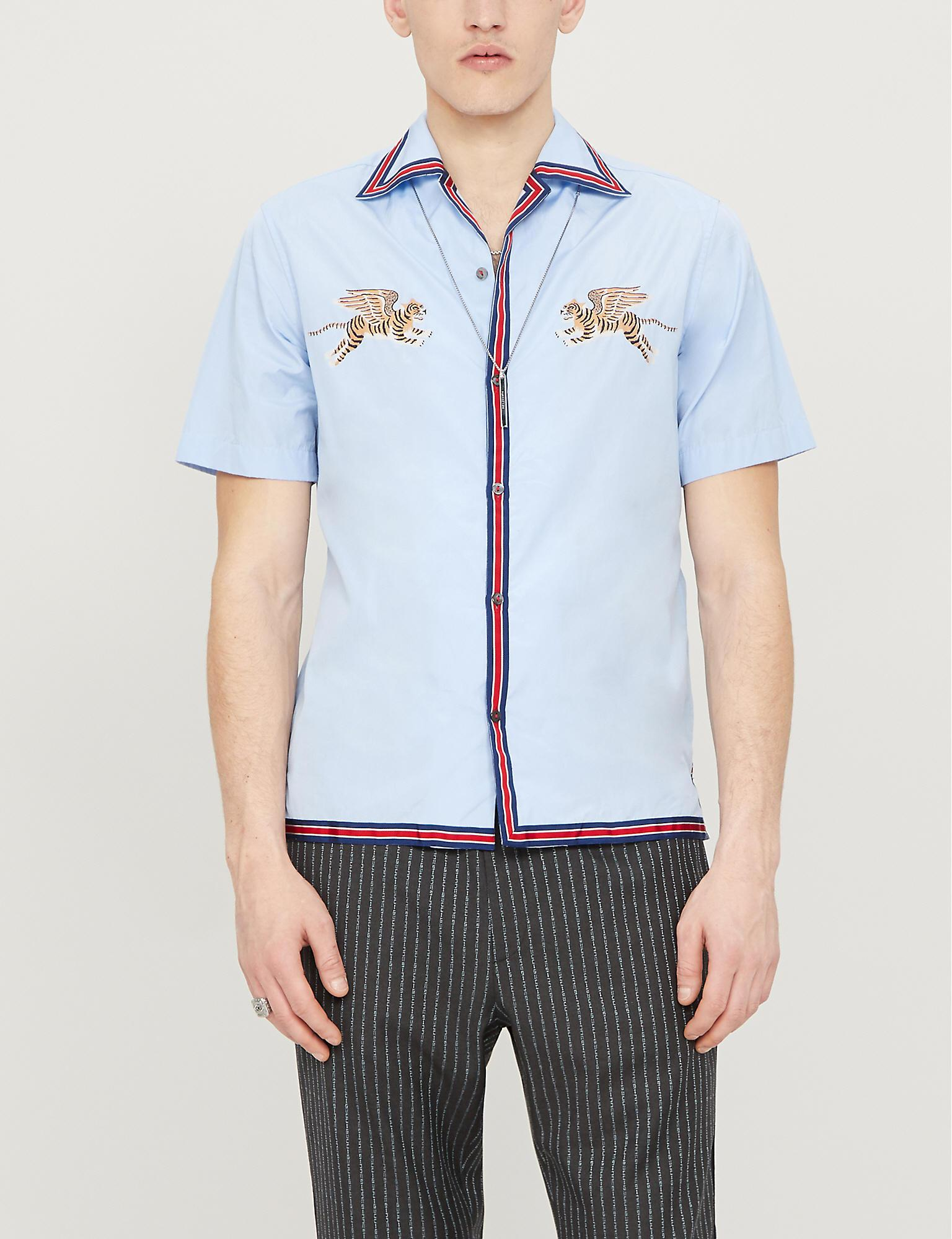 b3a429702ef Gucci Flying Tiger-embroidered Regular-fit Cotton Shirt in Blue for ...
