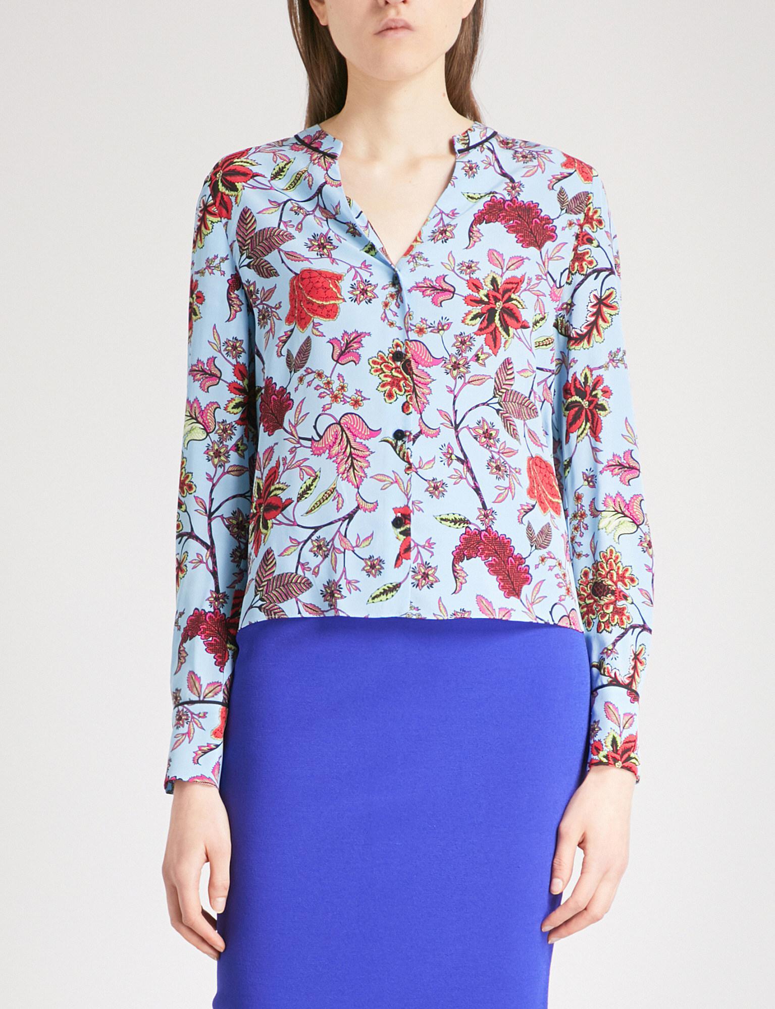 0718f0511d6f0 Lyst - Diane von Furstenberg Canton-print V-neck Silk Shirt in Blue