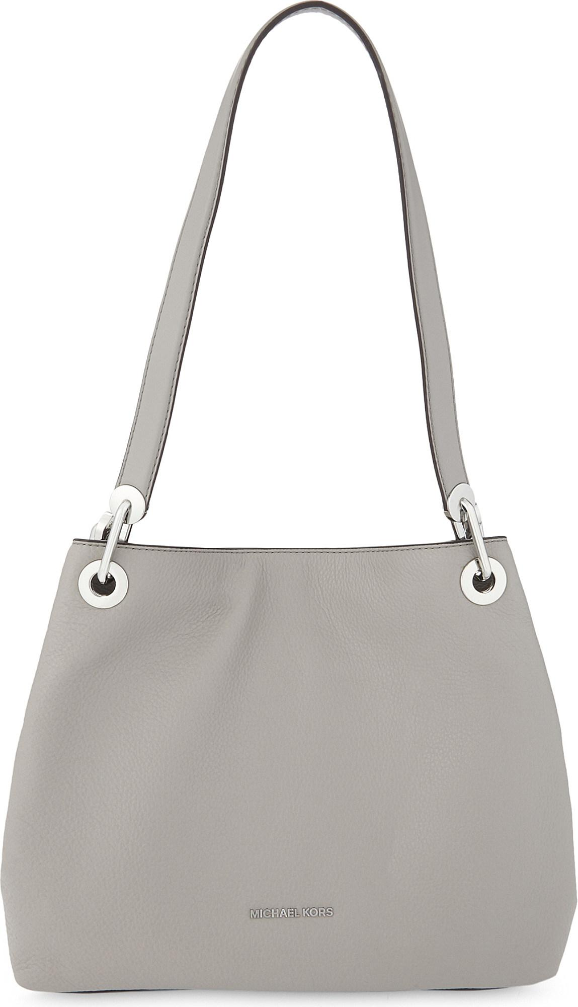 ab9d4446a6a8 MICHAEL Michael Kors Raven Large Leather Shoulder Tote in Gray - Lyst