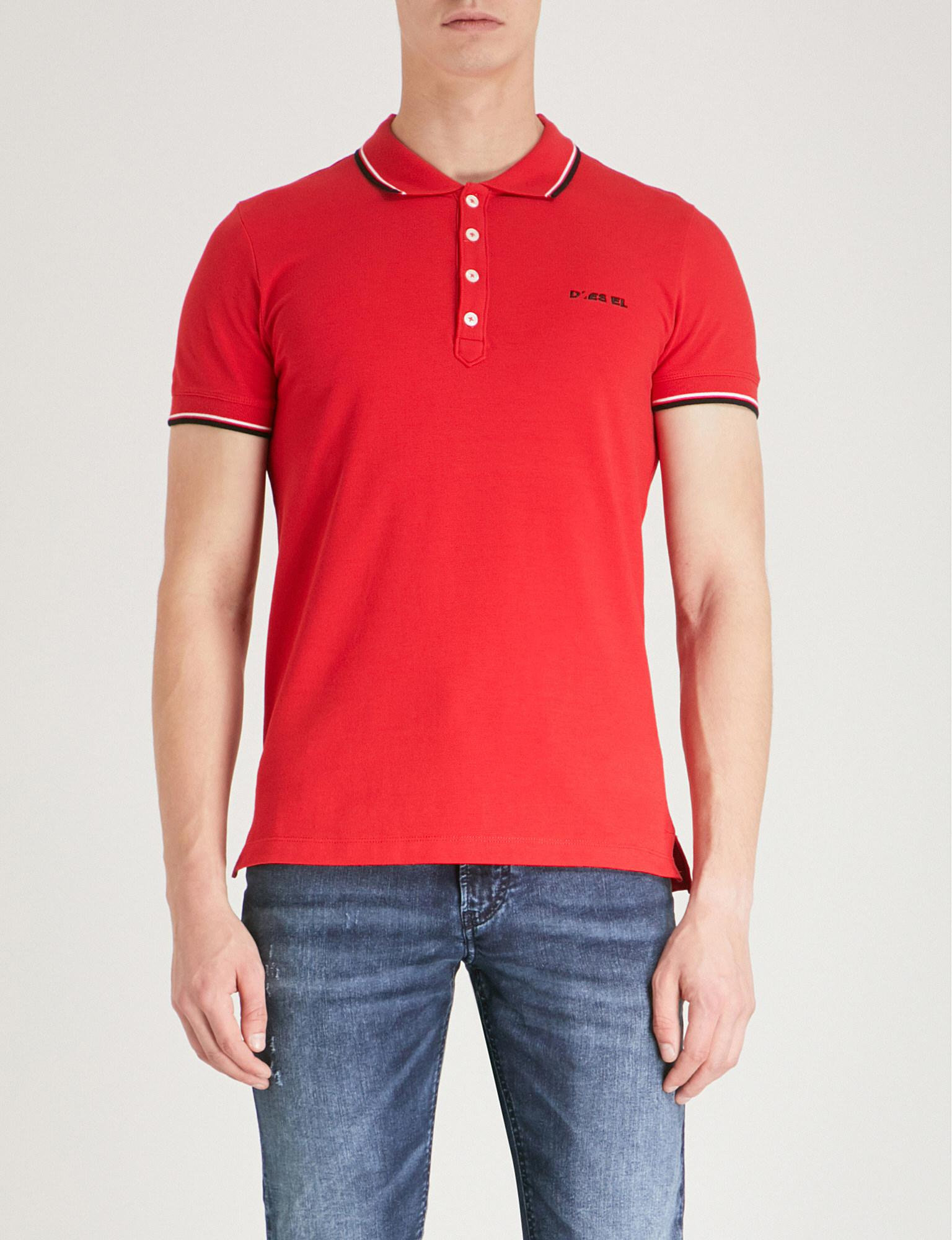 8049aa8b DIESEL T-randy Stripe-trim Cotton Polo Shirt in Red for Men - Lyst