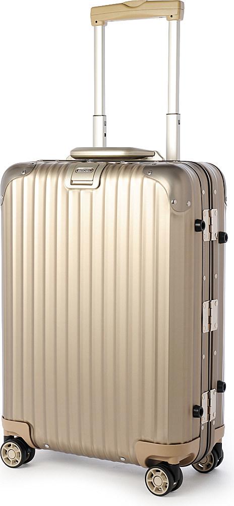lyst rimowa topas four wheel titanium silver cabin suitcase 55cm in metallic for men. Black Bedroom Furniture Sets. Home Design Ideas