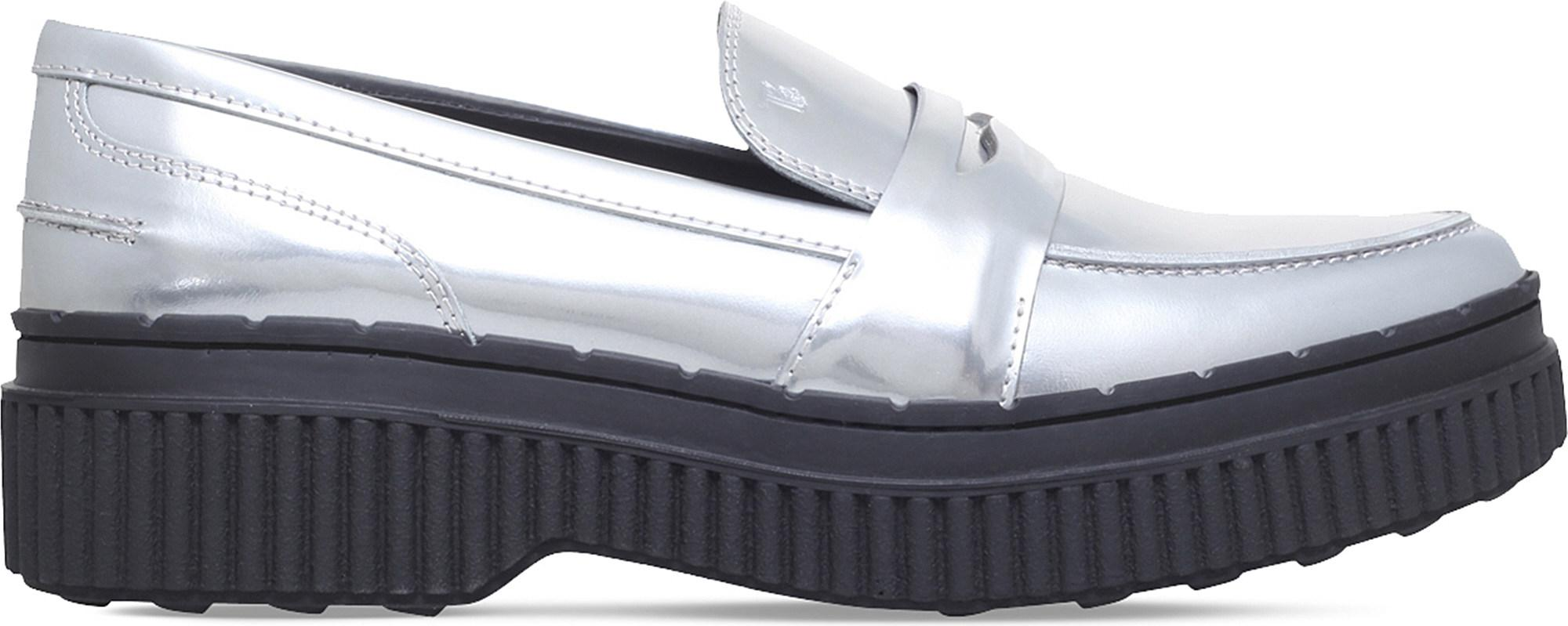 ddc2bb16a280 Lyst - Tod s Gomma Metallic-leather Platform Loafers in Metallic