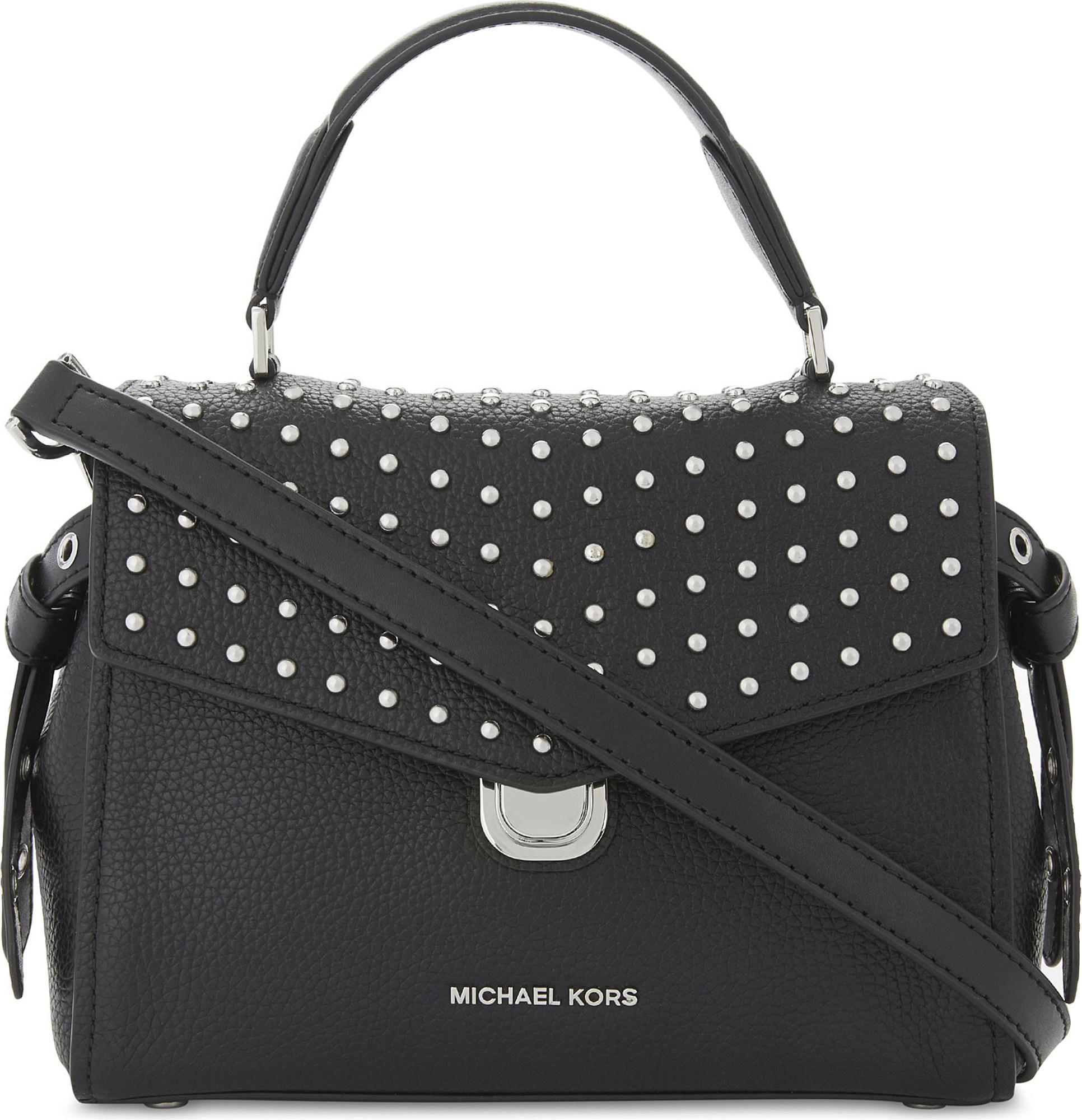 Bristol Medium Top Handle Satchel Bag in Black Pebble Leather Michael Michael Kors RHiFV
